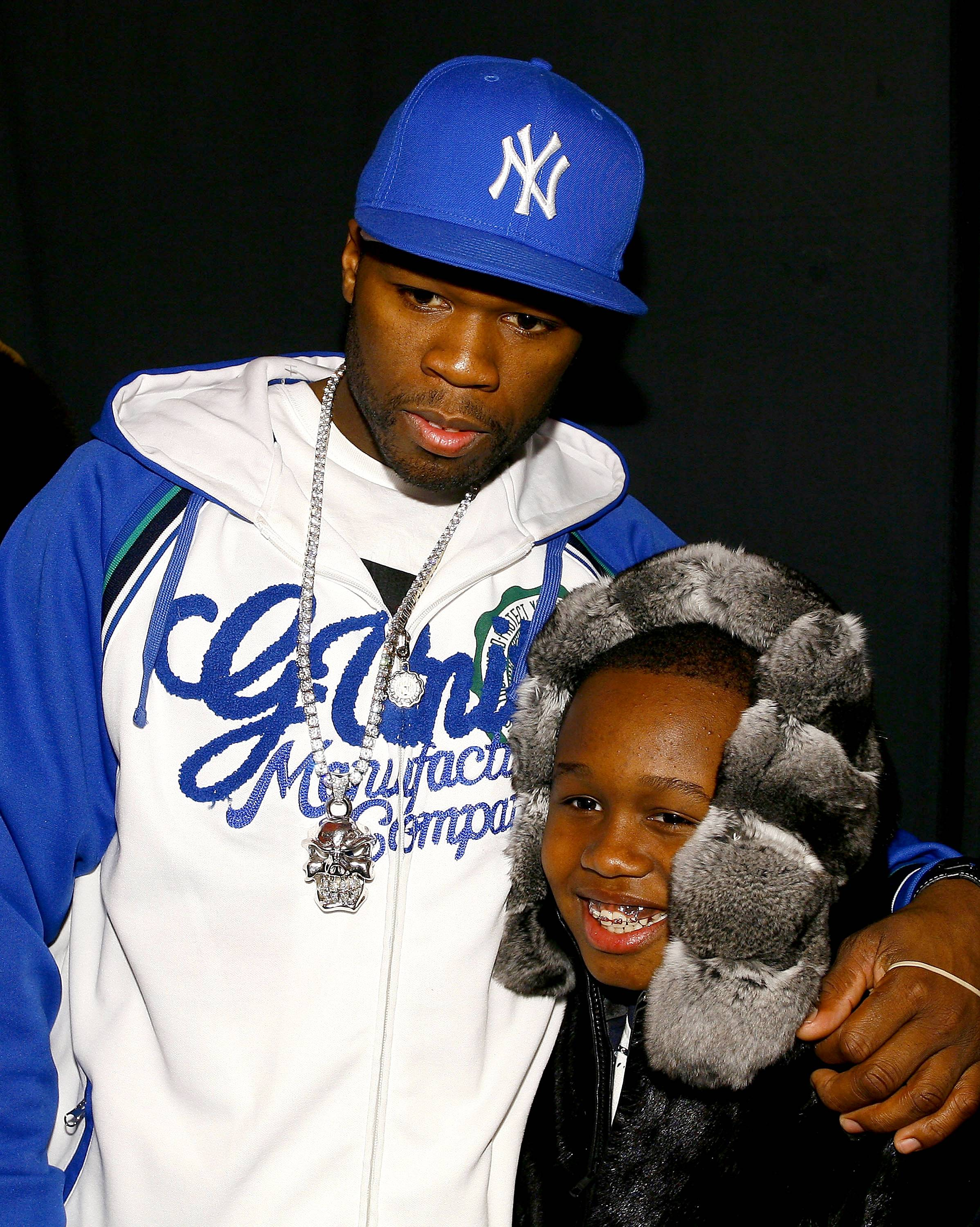 """50 Cent - """"Having a son was a wake-up call to me. You get a chance to do things better, do them right. It?s only now that I can fully appreciate that the circumstances of my childhood were not right. Hustling is not a life for a 12-year-old. But I grew up seeing that as normal. Marquis will not. I like that. I like knowing that he will have something a whole lot better.?(Photo: Mat Szwajkos/Getty Images for Child Magazine)"""