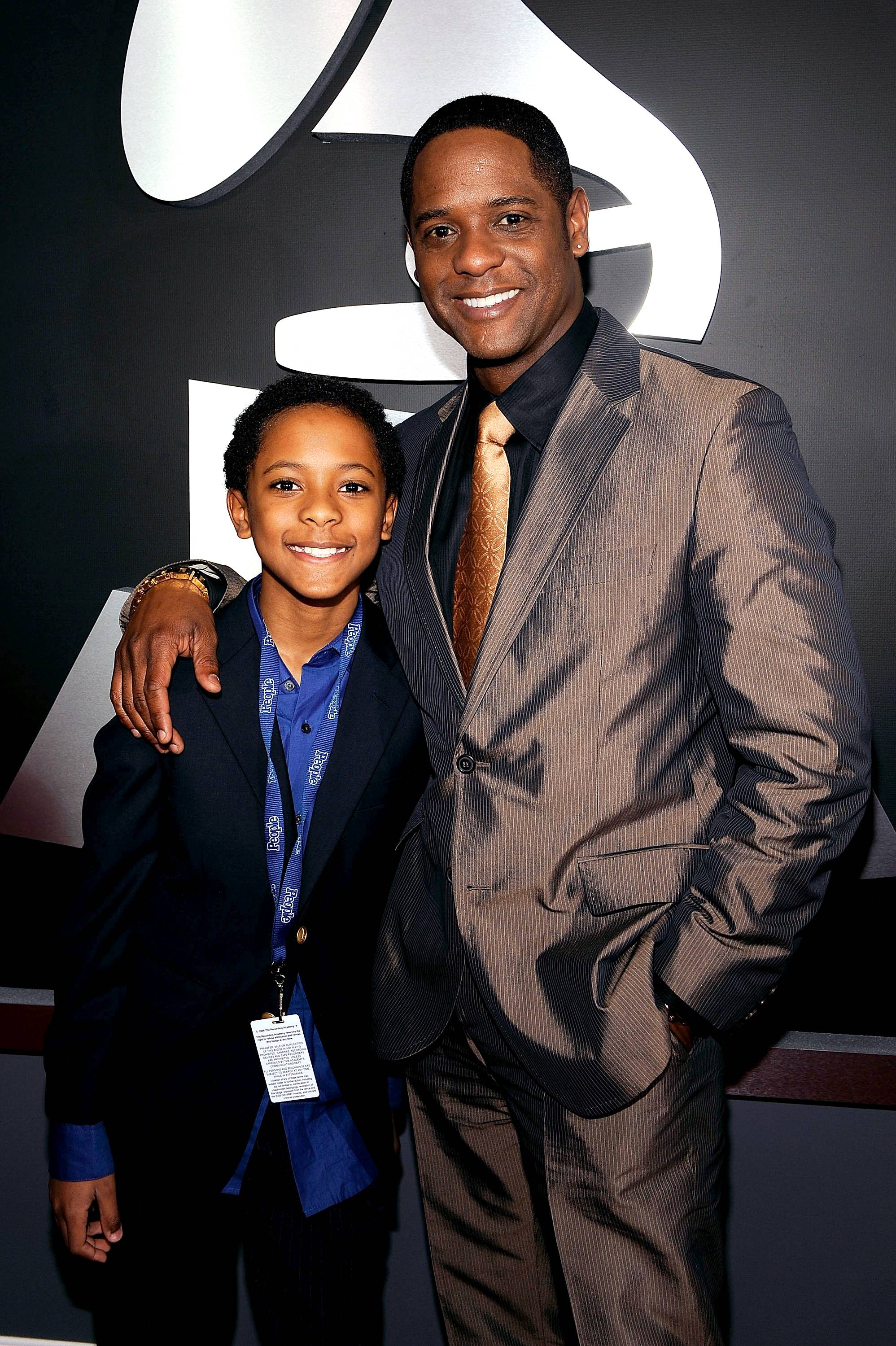 """Blair Underwood - """"Tonight, Daddy won't read you a story?you can watch him in a story""""?Blair Underwood with son, Paris. He also has a daughter, Brielle.(Photo: Larry Busacca/Getty Images)"""