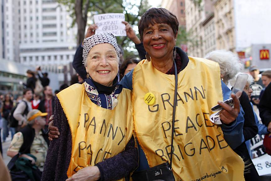 """The Grannies Speak  - """"I'm out with the Granny Peace Brigade. Five of them have been arrested,"""" Louise Meriweather told us. """"War affects everybody. We are seeking the end of nuclear weapons. We are seeking the end of killing people like Troy Davis. We are seeking jobs for people. We are seeking the end of the mortgage crisis. We are seeking better education for young people where they don?t have to work until they?re 60 to pay off their student loans.""""(Photo: Raymond Haddad/BET.com)"""