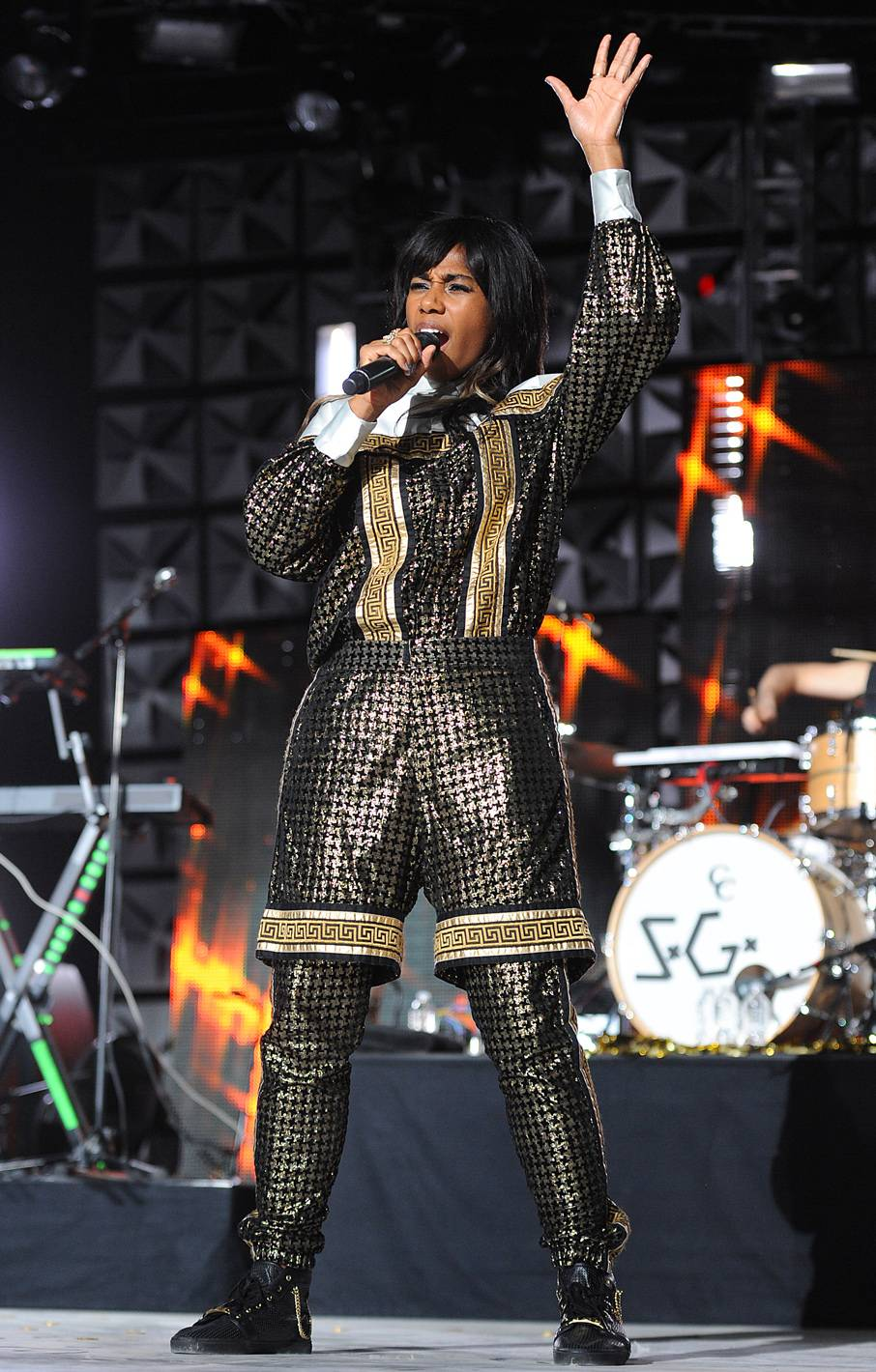 Stylin' and Profilin' - We've never seen an outfit like this, and we're not sure that we'd even wear an outfit like this, but Santigold can make it work... on stage that is.(Photo: Frank Micelotta/PictureGroup)