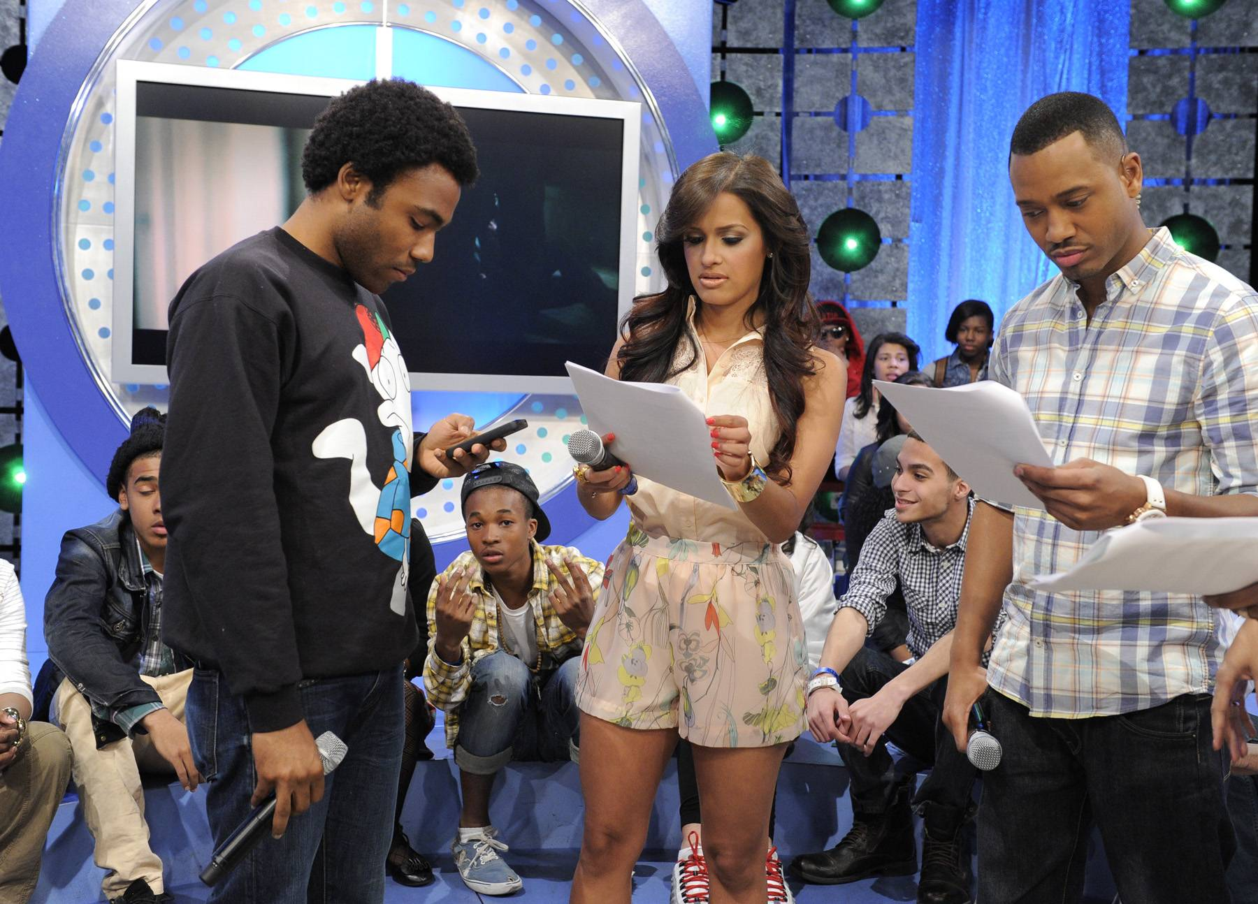 What Are My Lines - Childish Gambino with Rocsi Diaz and Terrence J during a commercial break at 106 & Park, May 1, 2012. (Photo: John Ricard / BET)