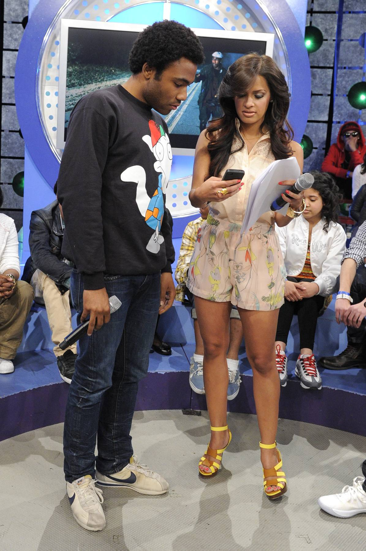 Take A Break - Childish Gambino with Rocsi Diaz during a commercial break at 106 & Park, May 1, 2012. (Photo: John Ricard / BET)
