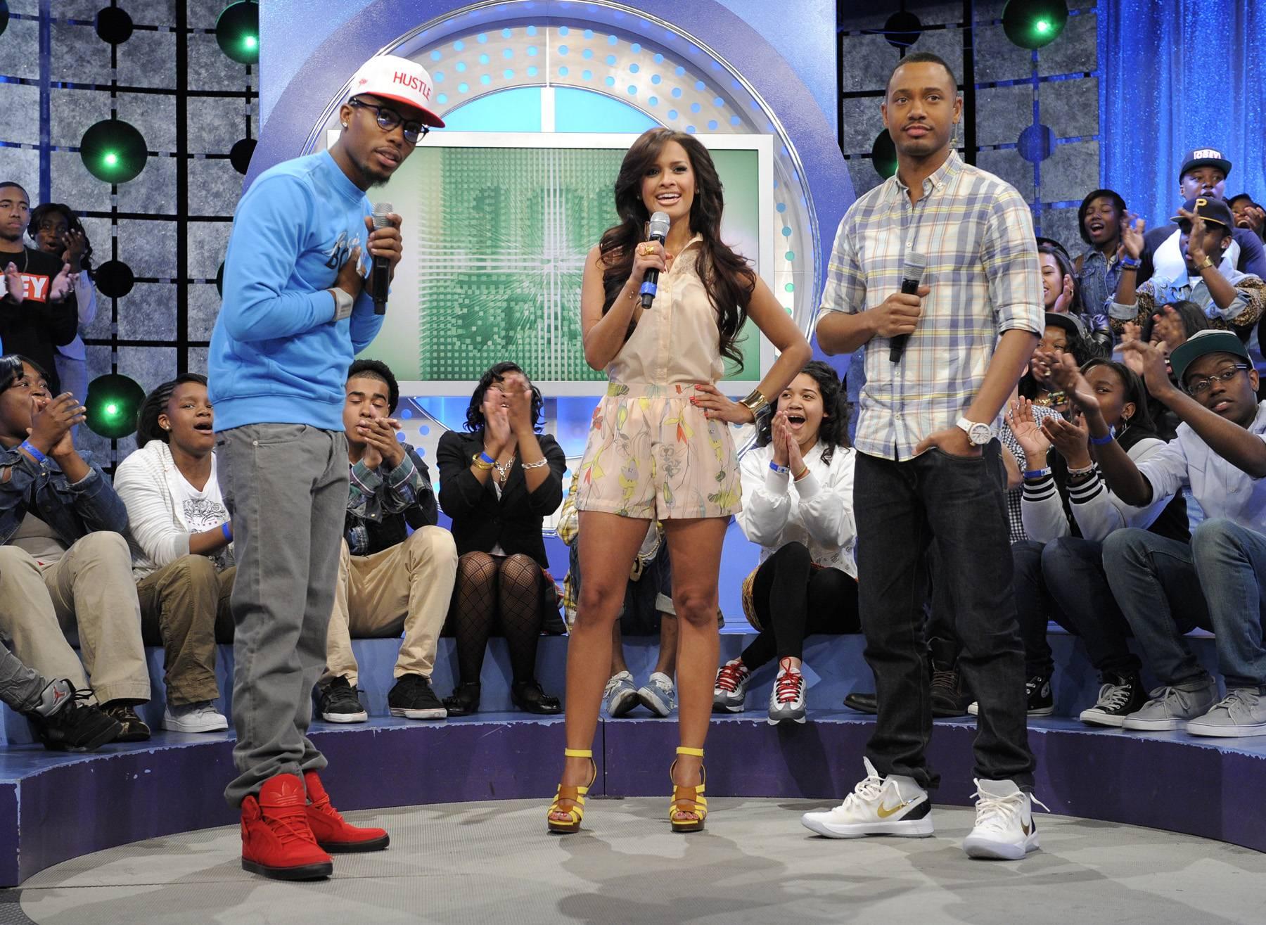 Lets Roll - B.o.B with Rocsi Diaz and Terrence J at 106 & Park, May 1, 2012. (Photo: John Ricard / BET)