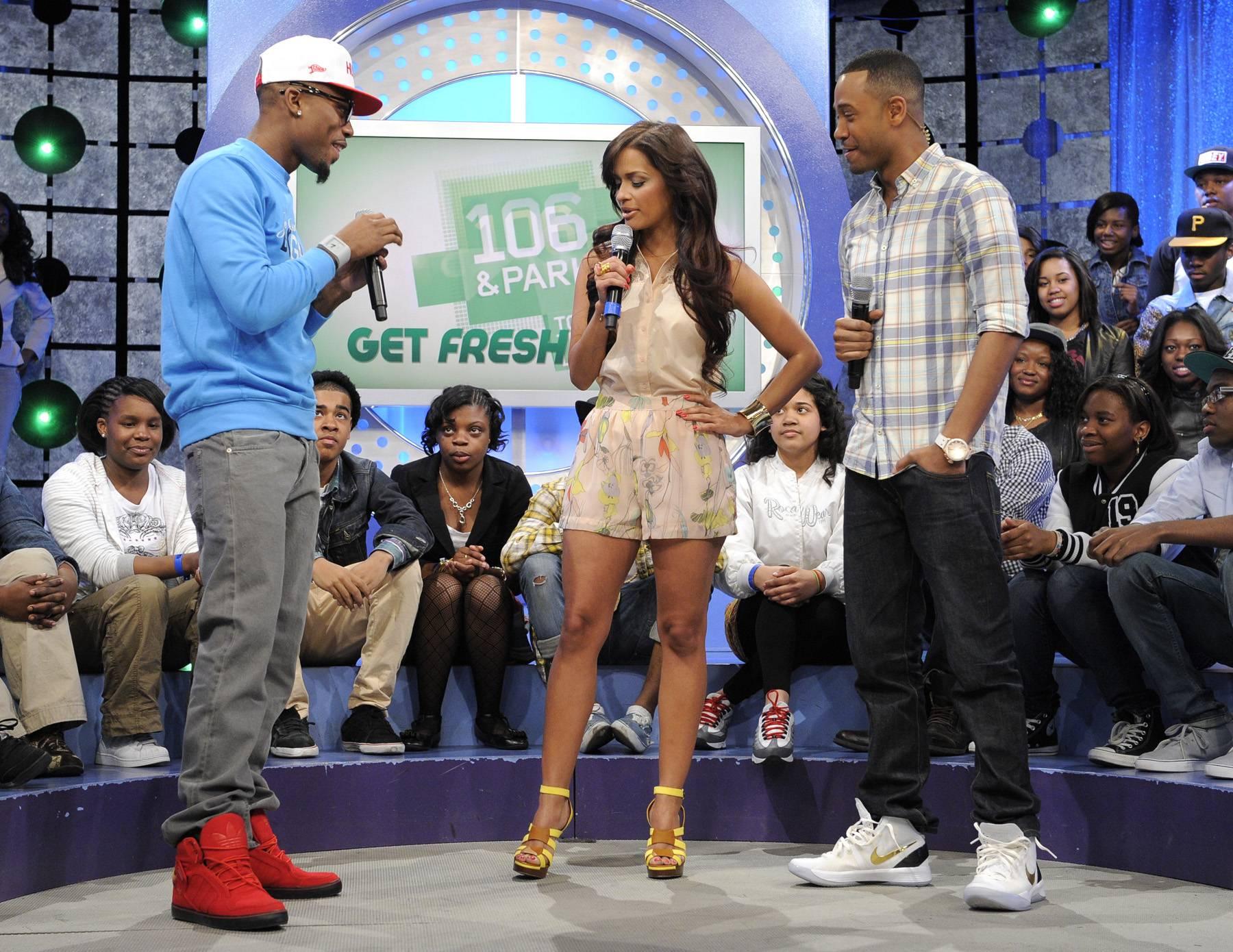 I Like Those - B.o.B with Rocsi Diaz and Terrence J at 106 & Park, May 1, 2012. (Photo: John Ricard / BET)