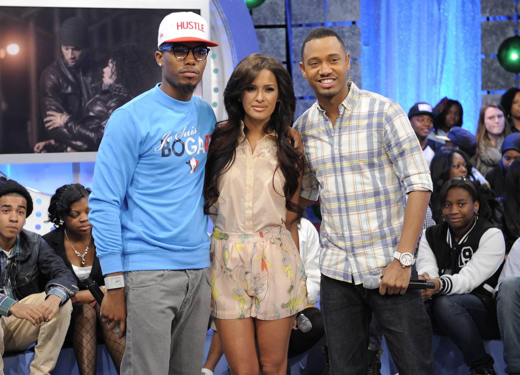 Line Up - B.o.B with Rocsi Diaz and Terrence J at 106 & Park, May 1, 2012. (Photo: John Ricard / BET)