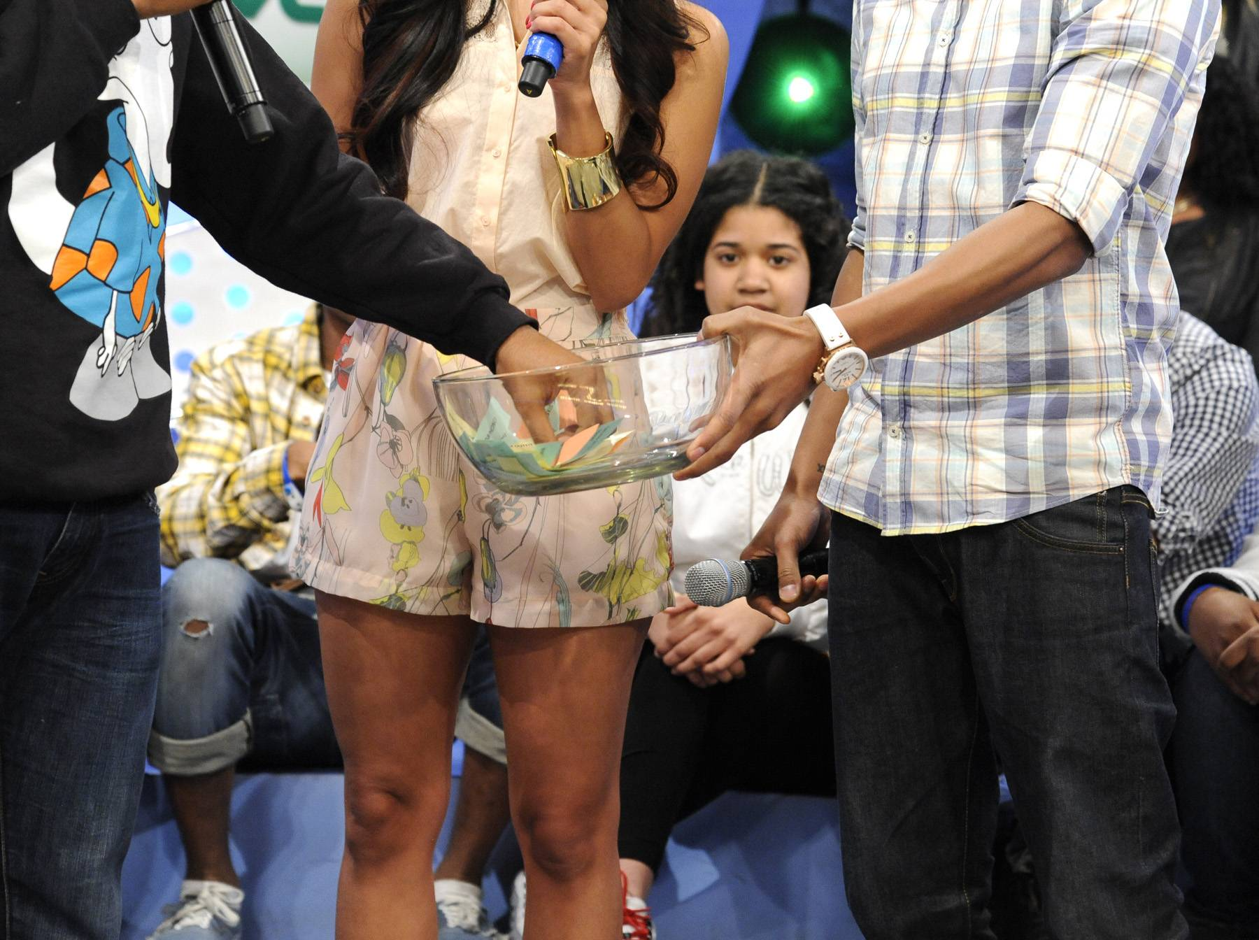 Take Your Pick - Childish Gambino picks out of the Bowl of Randomness with Rocsi Diaz and Terrence J at 106 & Park, May 1, 2012. (Photo: John Ricard / BET)