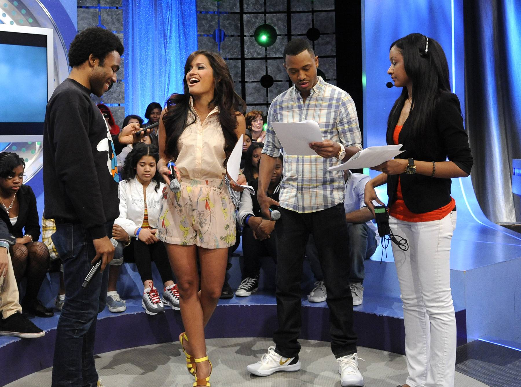 On Deck - Childish Gambino with Rocsi Diaz and Terrence J during a commercial break at 106 & Park, May 1, 2012. (Photo: John Ricard / BET)