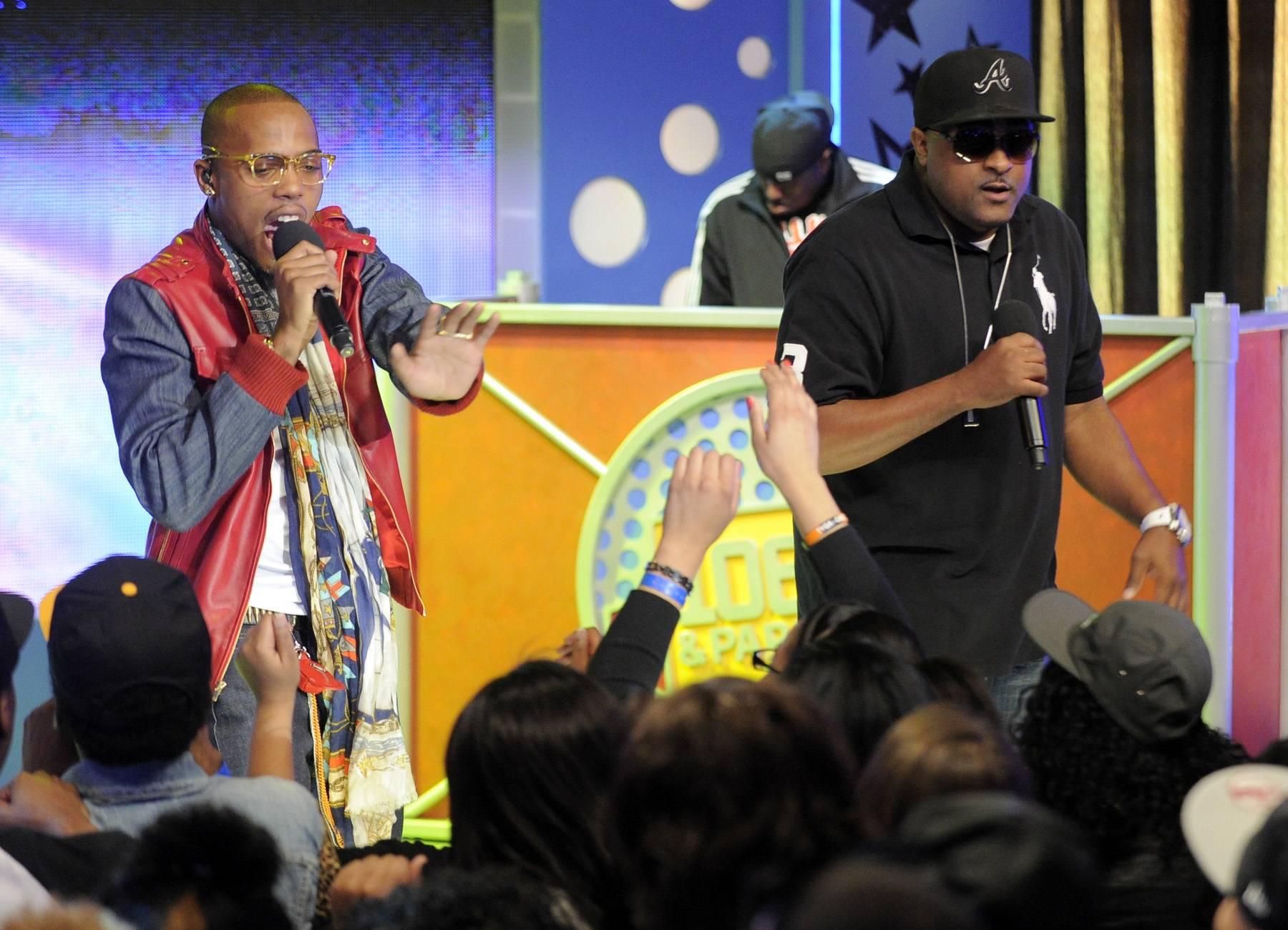 Holla Back - B.o.B performs at 106 & Park, May 1, 2012. (Photo: John Ricard / BET)