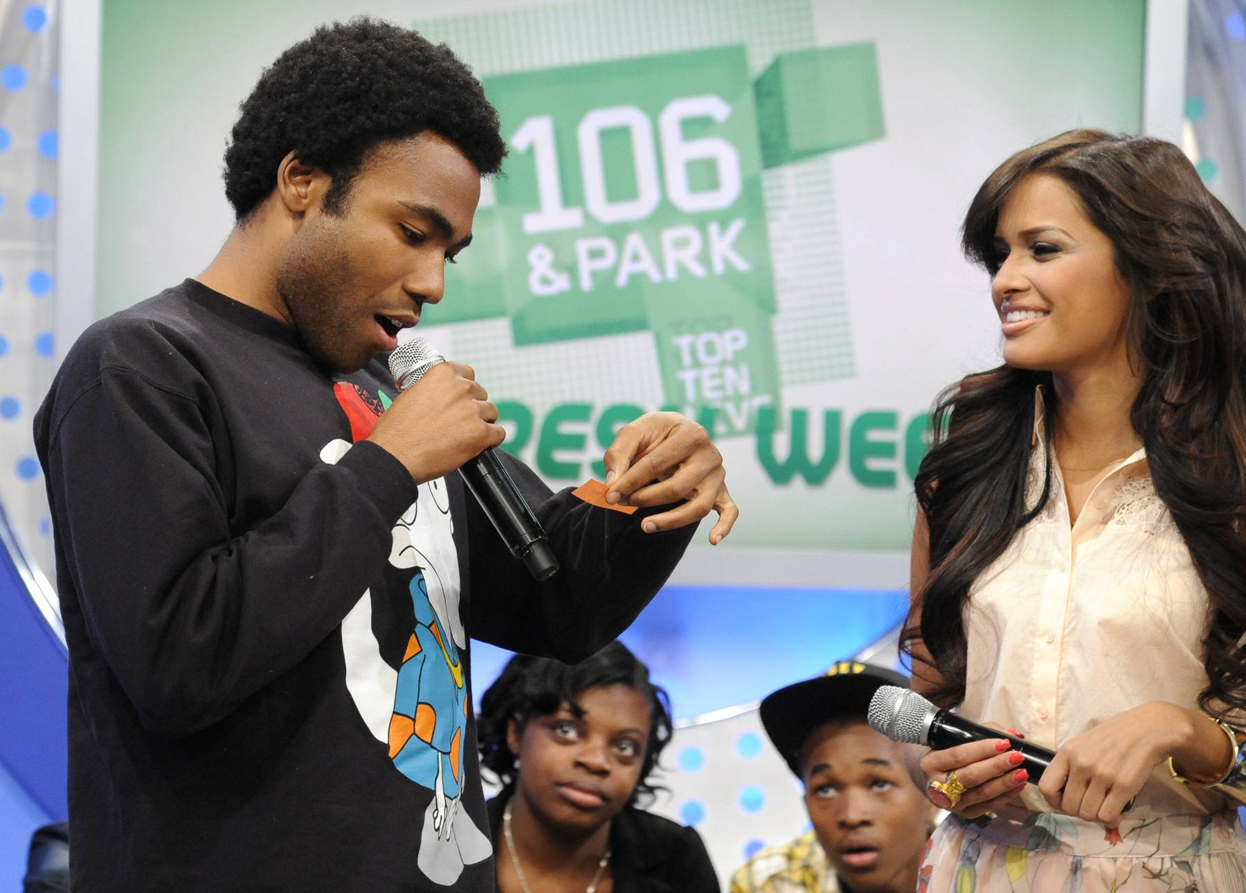 OK Now - Childish Gambino picks out of the Bowl of Randomness with Rocsi Diaz and Terrence J at 106 & Park, May 1, 2012. (Photo: John Ricard / BET)