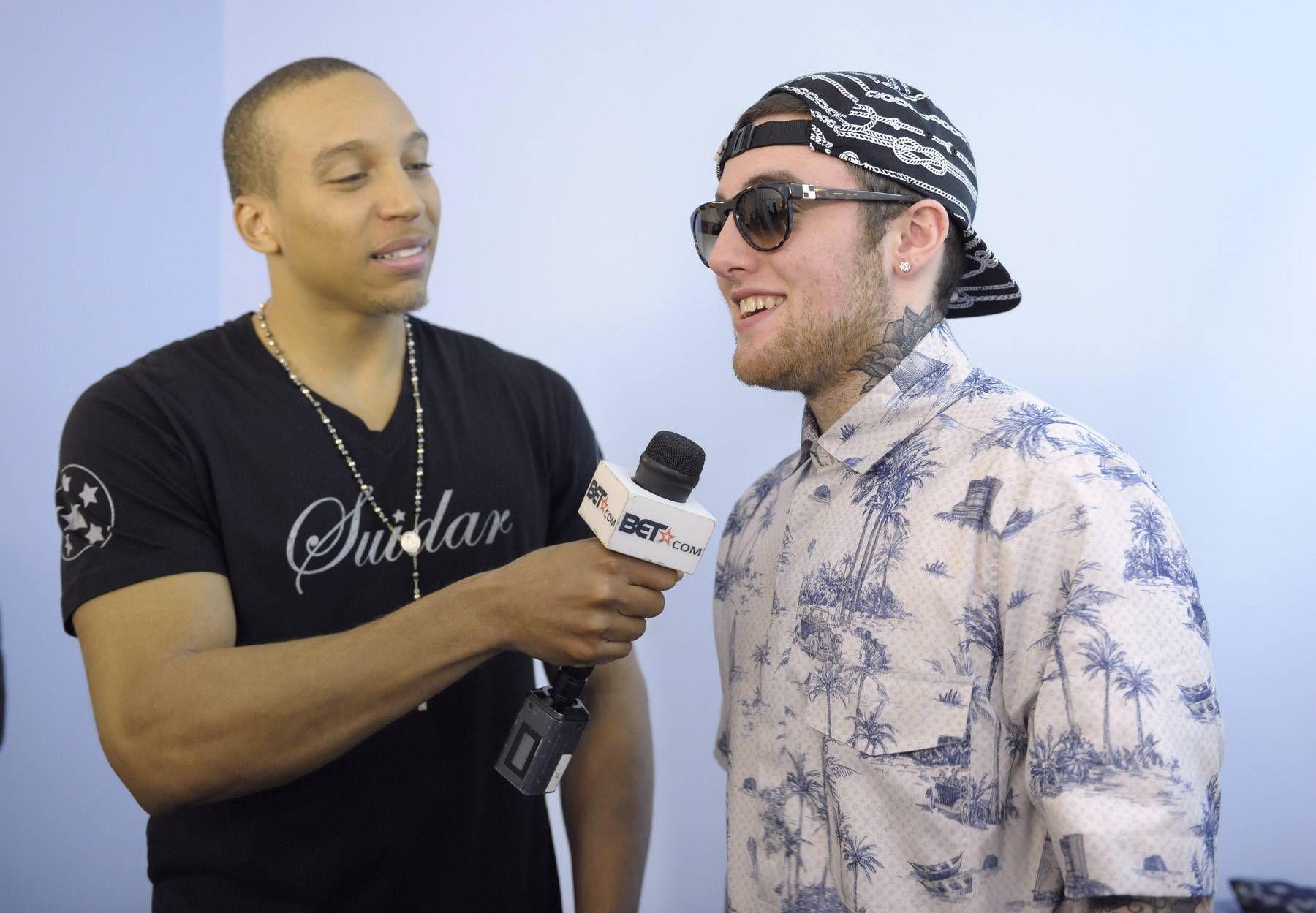 Whoa - Tony Anderson of bet.com interviews Mac Miller before the show in the green room at 106 & Park, April 26, 2012. (Photo: John Ricard / BET)