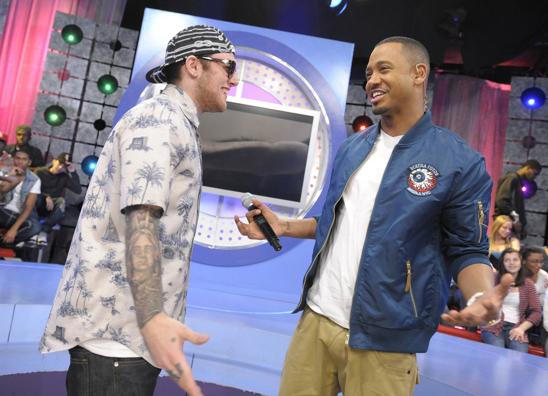 Just Chill - Mac Miller and Terrence J during a commercial break at 106 & Park, April 26, 2012. (Photo: John Ricard / BET)