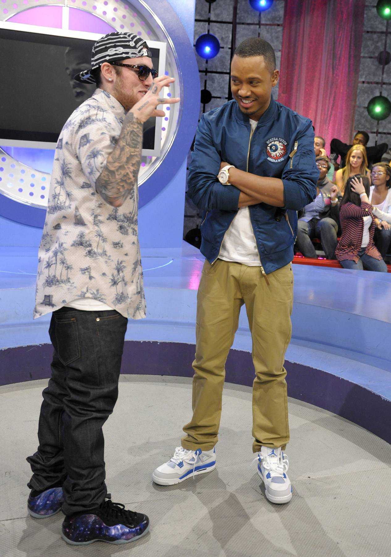 Here You Go - Mac Miller and Terrence J during a commercial break at 106 & Park, April 26, 2012. (Photo: John Ricard / BET)