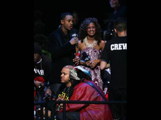 """106 & Ring - Terrence and Rocsi, hosts of BET's """"106 & Park"""" are on hand for the fights."""