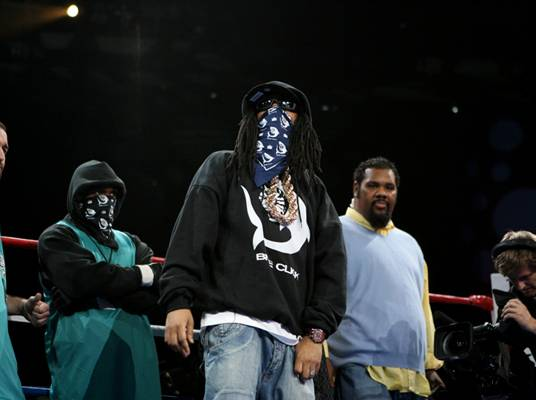 """Masked Man - That's Lil' Jon. The King of Crunk is one of many celebrity team owners on """"Iron Ring."""""""