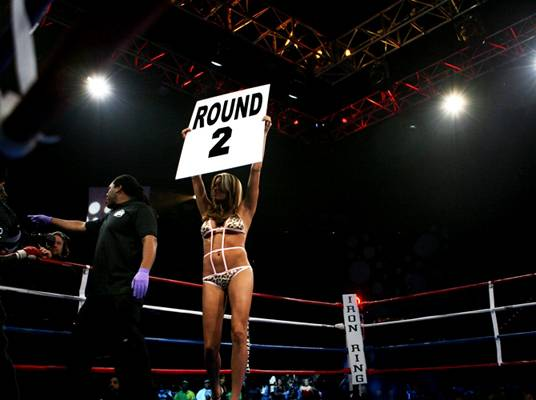 Boxing Babe - Where are the ladies? The only women in the ring will be indicating the rounds.