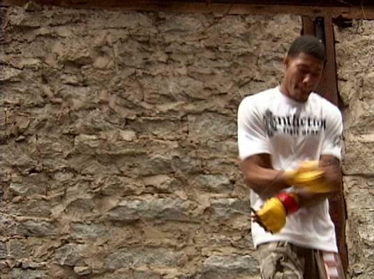 Jump In, Jump Out - Joshua Gaskins is focused while using a jump rope to train.