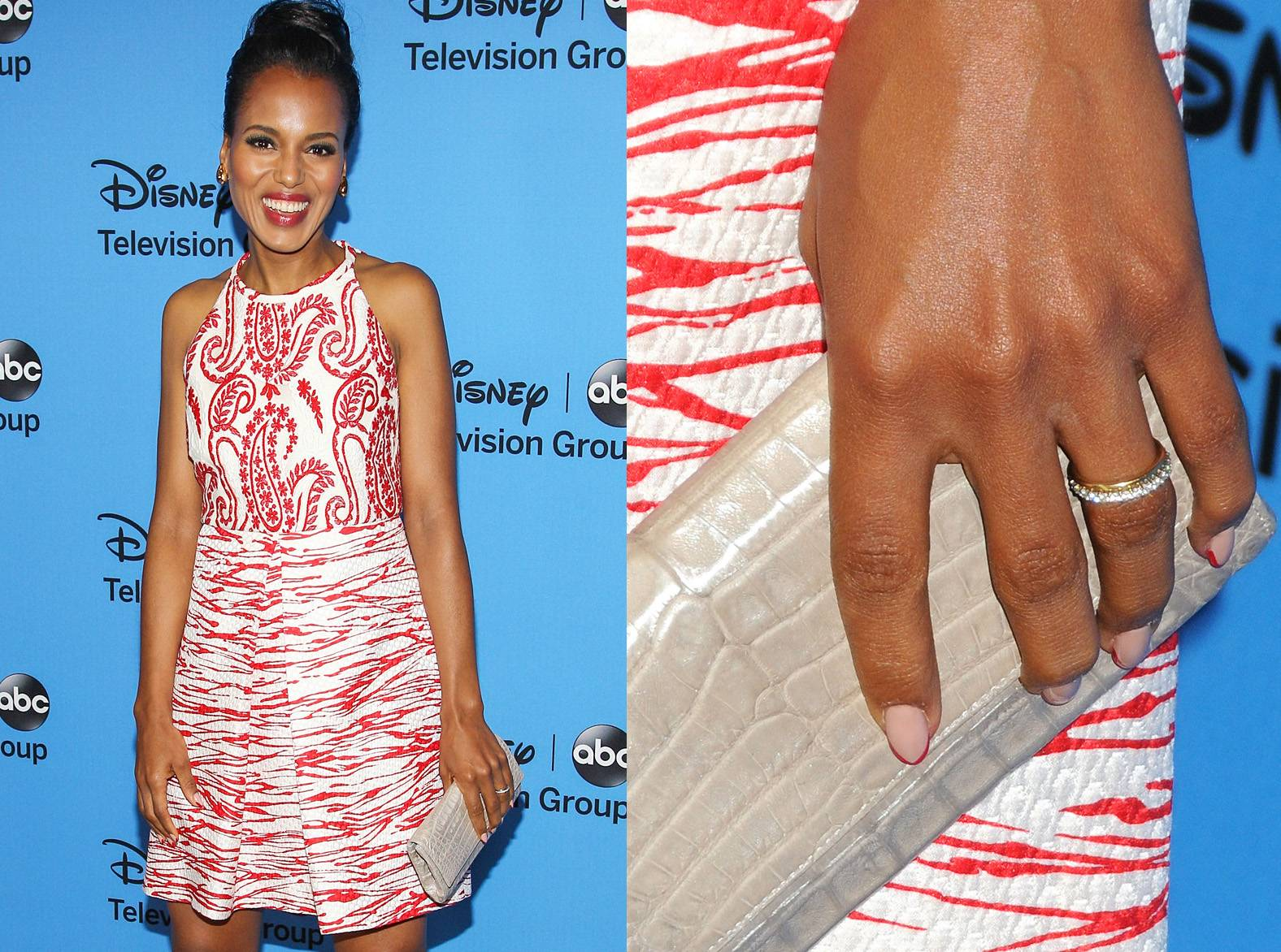 Kerry Washington - The Scandal star married San Francisco 49ers cornerback Nnamdi Asomugh in a secret ceremony on June 24, 2013. Keeping with her timeless style, Kerry's ring looks to be channel set with diamonds all around and is worn alongside a simple gold band.  (Photos from left: Paul A. Hebert/Getty Images, AdMedia / Splash News)