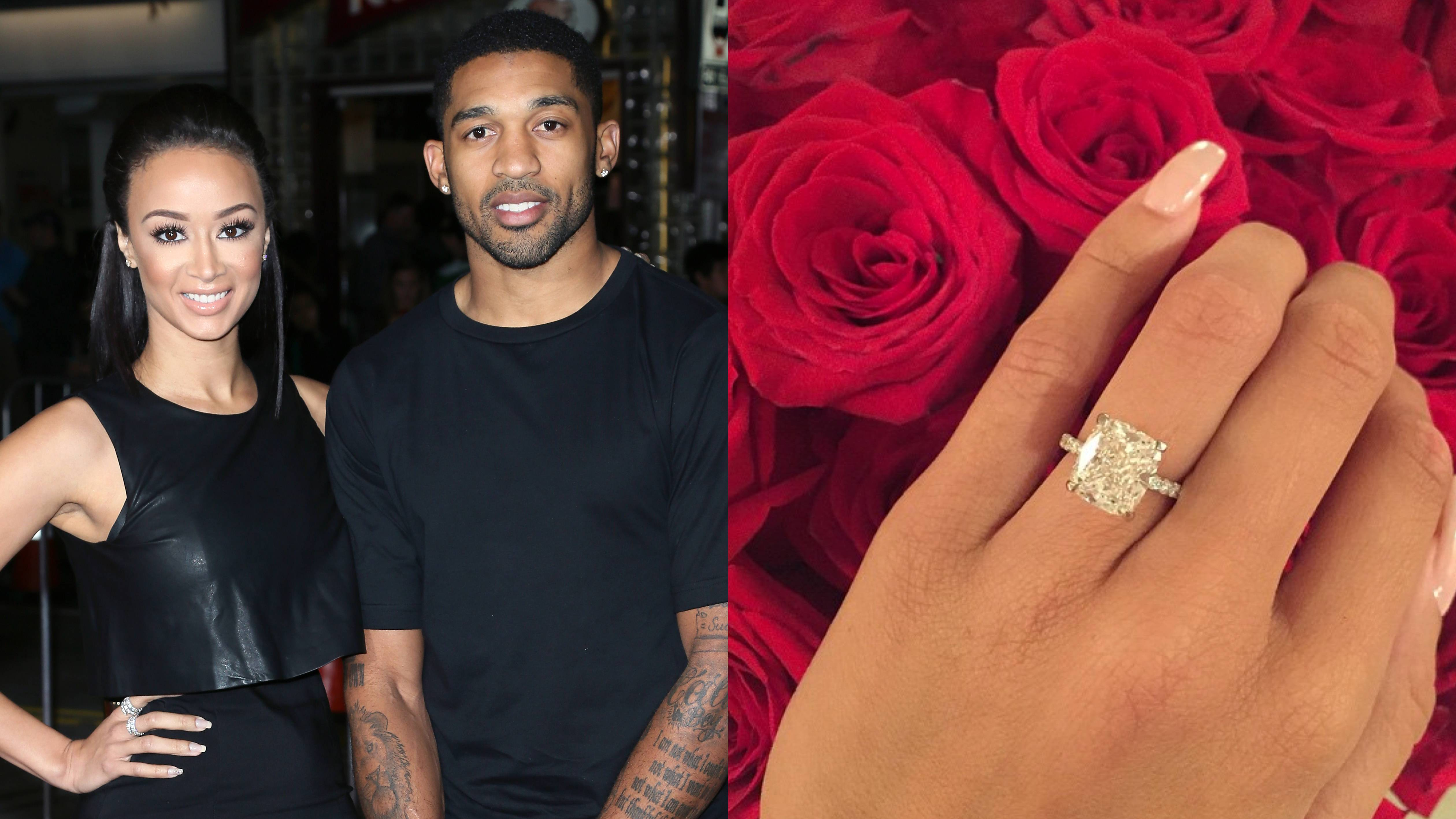 Draya Michele - The Basketball Wives LA star is heading down the aisle! Her longtime beau, Dallas Cowboys cornerback Oscar Scandrick, popped the question on June 18 in Los Angeles with a 6 carat, cushion-cut diamond designed by Jasons of Beverly Hills. Nice!  (Photos from Left: David Livingston/Getty Images, Draya Michele via Instagram)