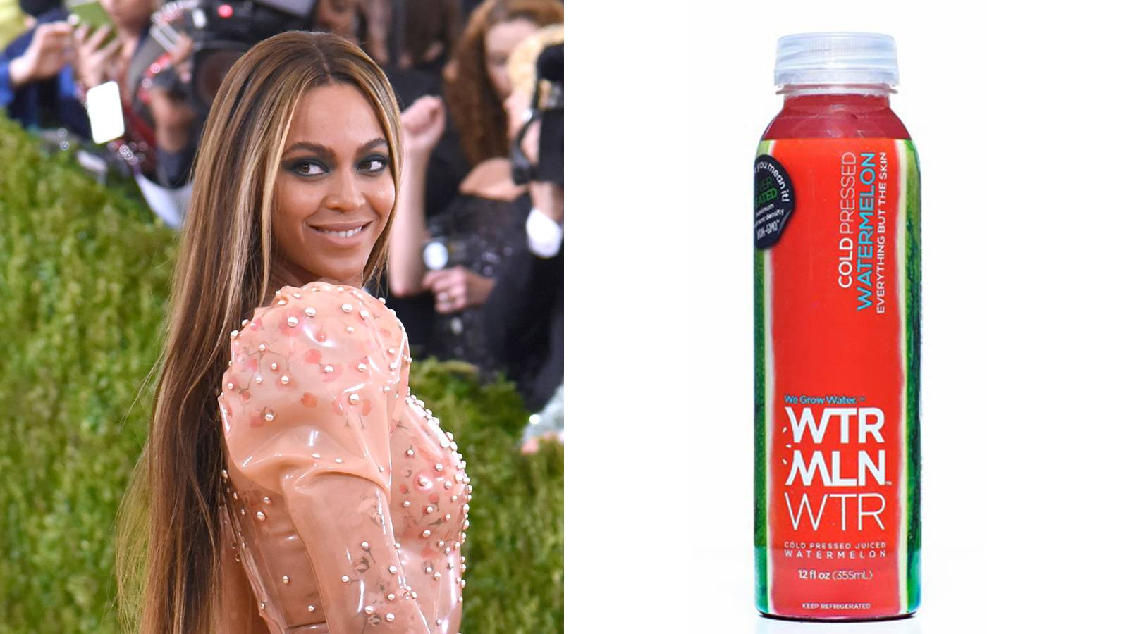 Beyonce May Have Traded Her Lemonade for WTRMLN Water - Beyonce may have quenched our thirst last week with Lemonade, but she's investing some of her coins in another fruit: watermelon. The diva just put some of her stakes in WTRMLN WTR, a fast growing pressed juice drink.(Photo from left:Larry Busacca/Getty Images, WTRMLN WTR)