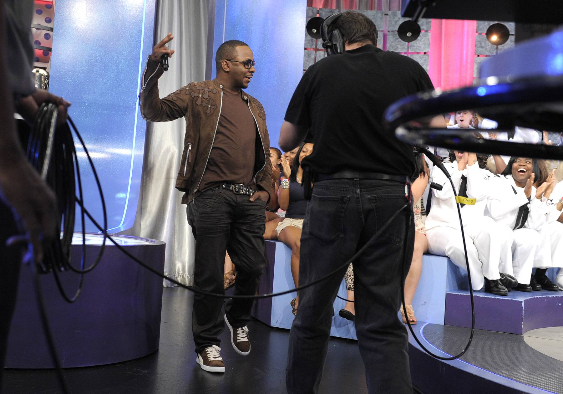 Come on Down - Bobby Brown takes the stage at 106 & Park, May 29, 2012. (Photo: John Ricard / BET)