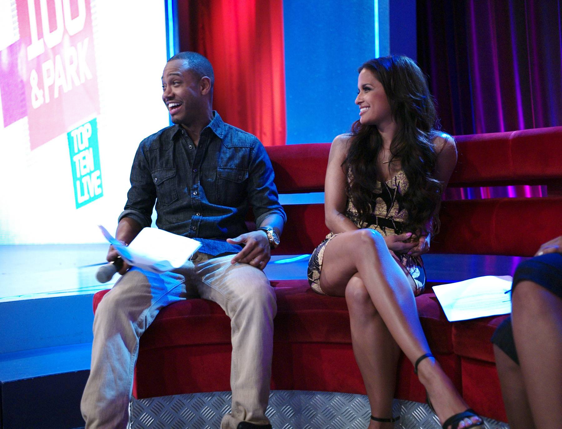 LOL - Terrence J and Rocsi Diaz before making their special announcement at 106 & Park, May 29, 2012. (Photo: John Ricard / BET)