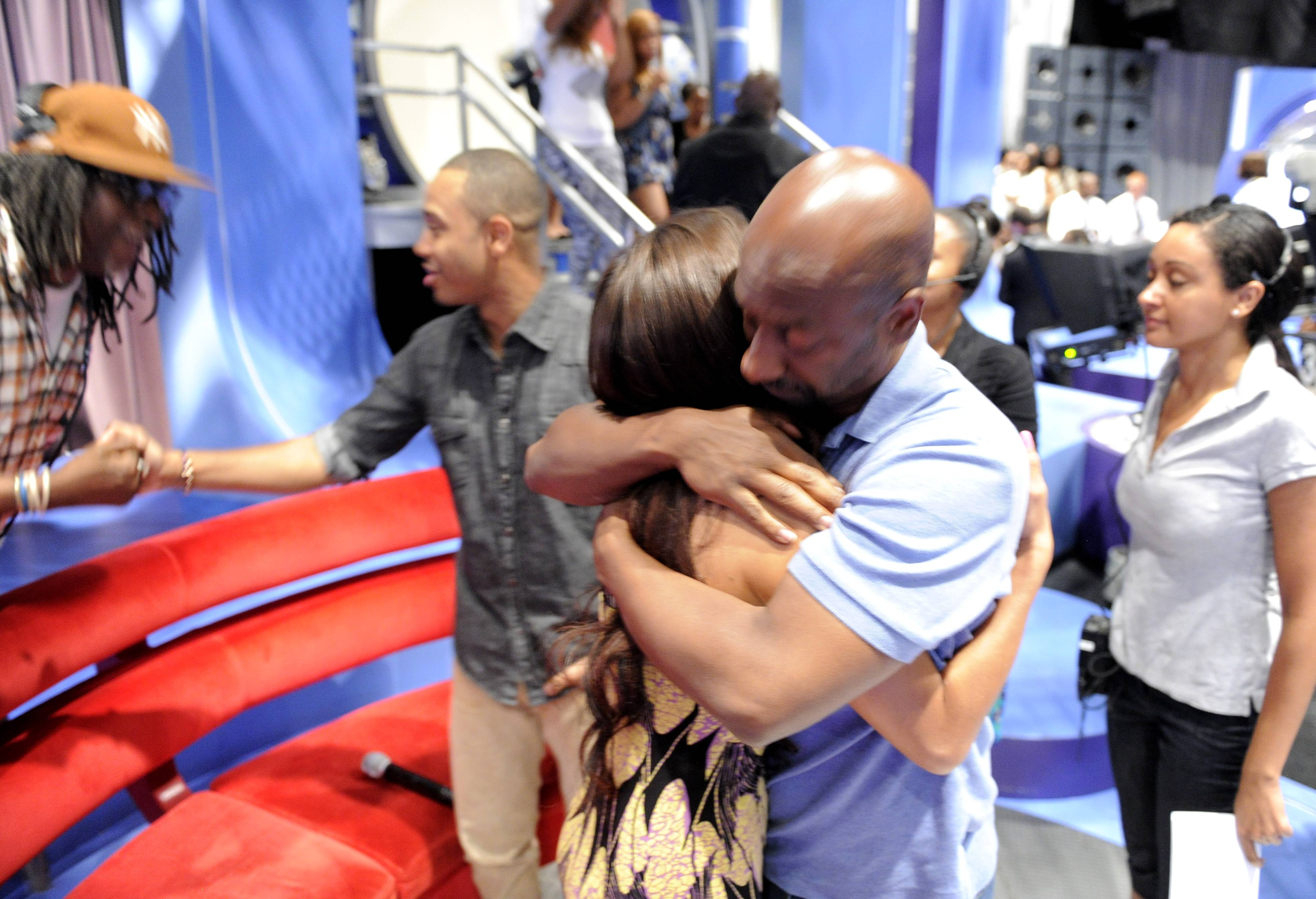 Give Me a Hug - Stephen Hill givesRocsi Diaz a hug after the announcement that she andTerrence J will be leaving the show in the near future at 106 & Park, May 29, 2012. (Photo: John Ricard / BET)