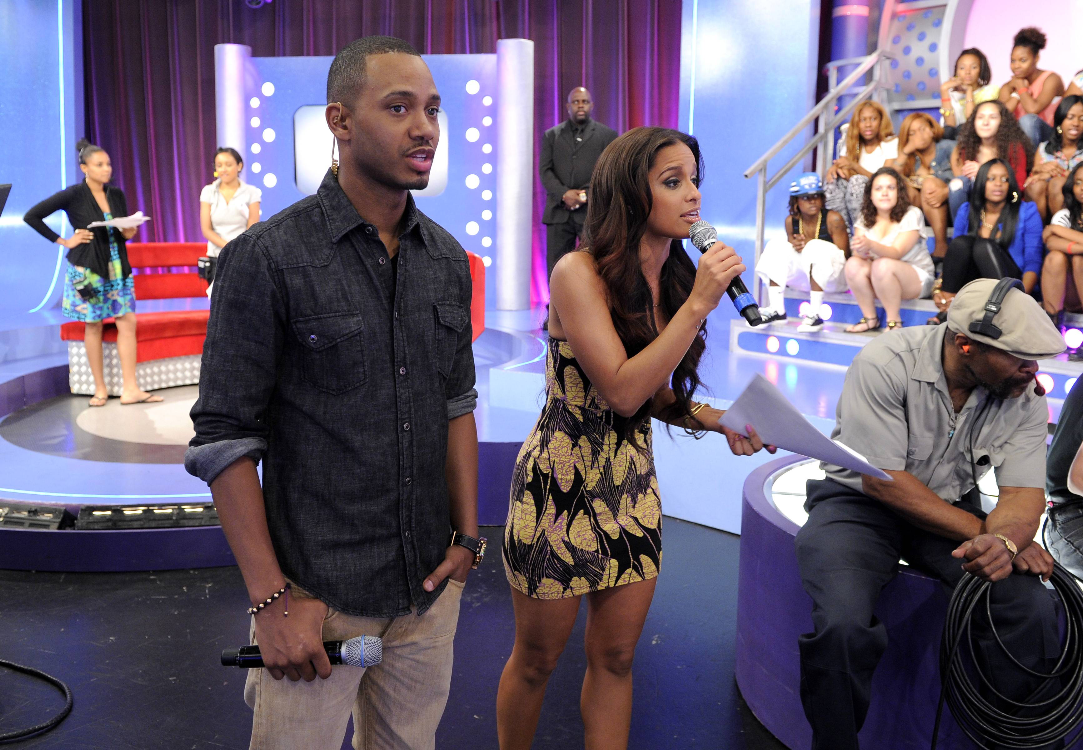 Crowd Interaction - Rocsi Diaz thanks the audience for being so lively at 106 & Park, May 29, 2012. (Photo: John Ricard / BET)