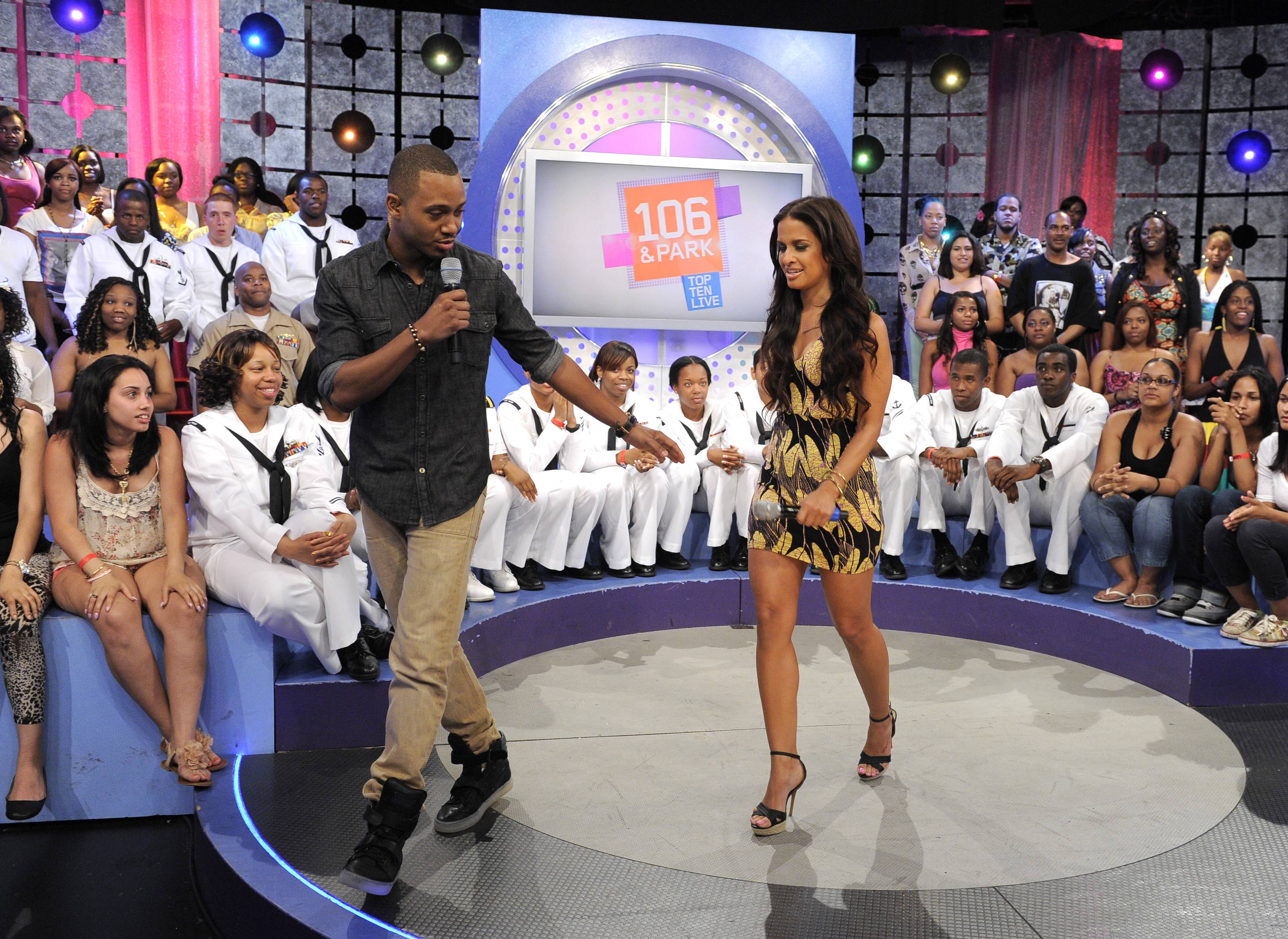 Come On - Terrence J and Rocsi Diazmake their way to the couch to make a special announcement at 106 & Park, May 29, 2012. (Photo: John Ricard / BET)