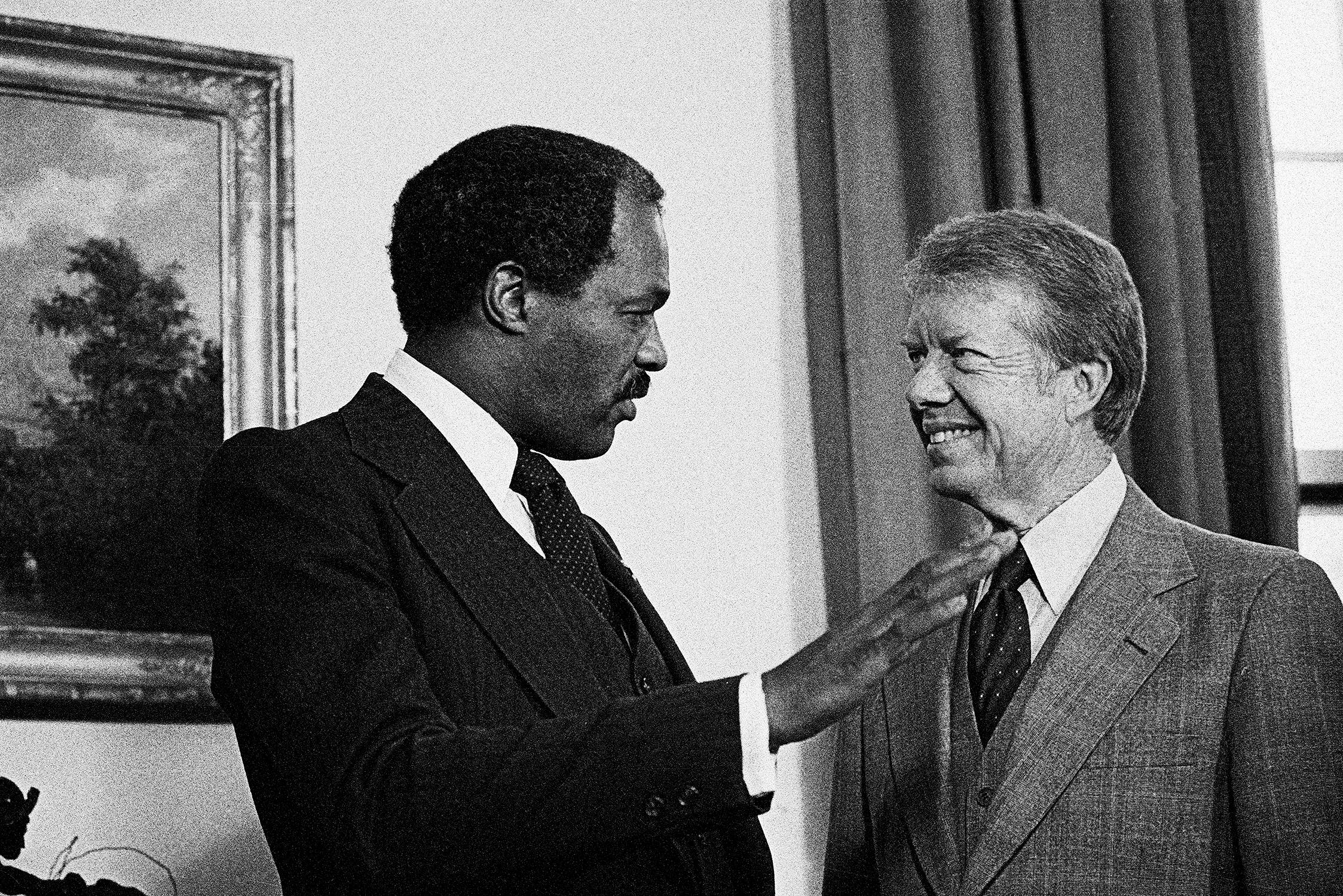 Mr. Mayor - Soon after his inauguration, Mayor Barry paid a visit to the White House to meet with President Jimmy Carter. One of the topics they discussed was the good experience first daughter Amy Carter had attending D.C.'s public schools. (Photo: Bettmann/Corbis)