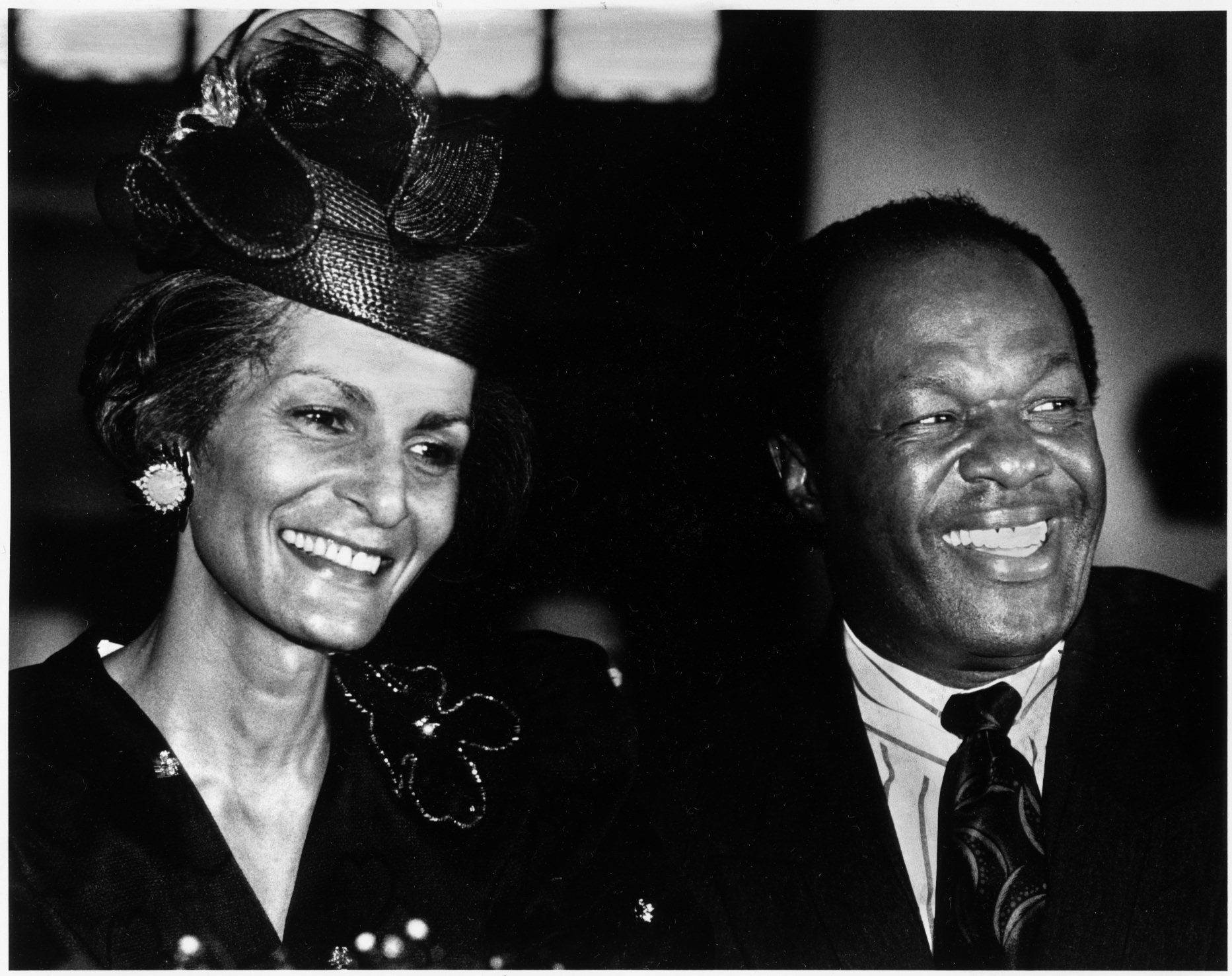 Happy Days - Still mayor, Barry is pictured here with third wife, Effi Barry, who is being honored at an event at Carnegie Library in Washington, D.C.