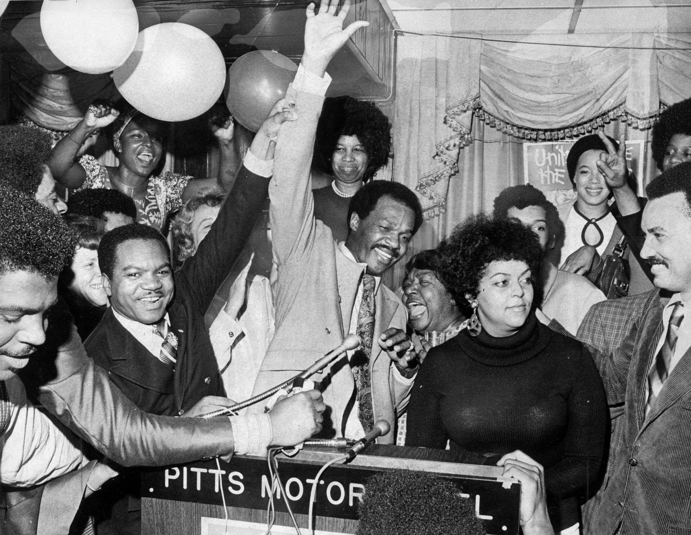 Barry Elected to D.C. School Board - Pictured here with D.C. Delegate Walter Fauntroy, Barry is celebrating winning a seat on the city's school board. (Photo: Ellsworth Davis/The Washington Post)