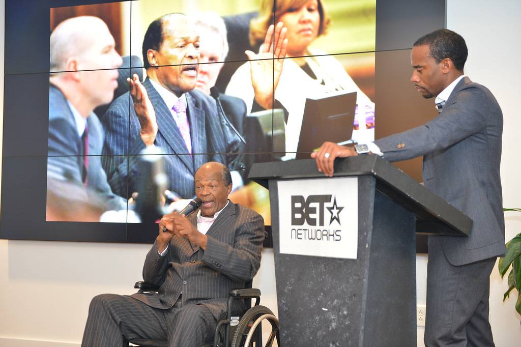Book Talk - Barry delivered a spirited talk about his life and legacy during an event to promote his book hosted by BET Networks.   (Photo: Phelan Marc/BET)