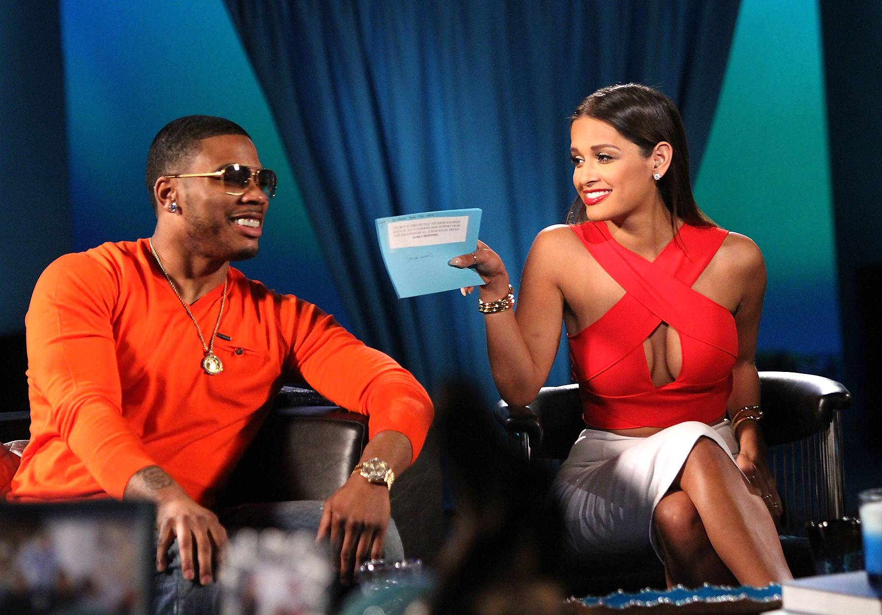 Don't Mess With Rocsi - Nelly and Rocsi share a super playful moment during the show's reunion. (Photo: Maury Phillips/WireImage)