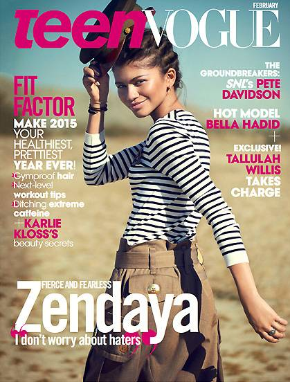 Zendaya - The Disney starlet is taking charge and looking fab! She works edgy pieces like a military helmet and combat boots in her rugged, desert-themed photo shoot. Inside, she chats about how she weathered the mean girls of Hollywood.  (Photo: Teen Vogue Magazine, February 2015)