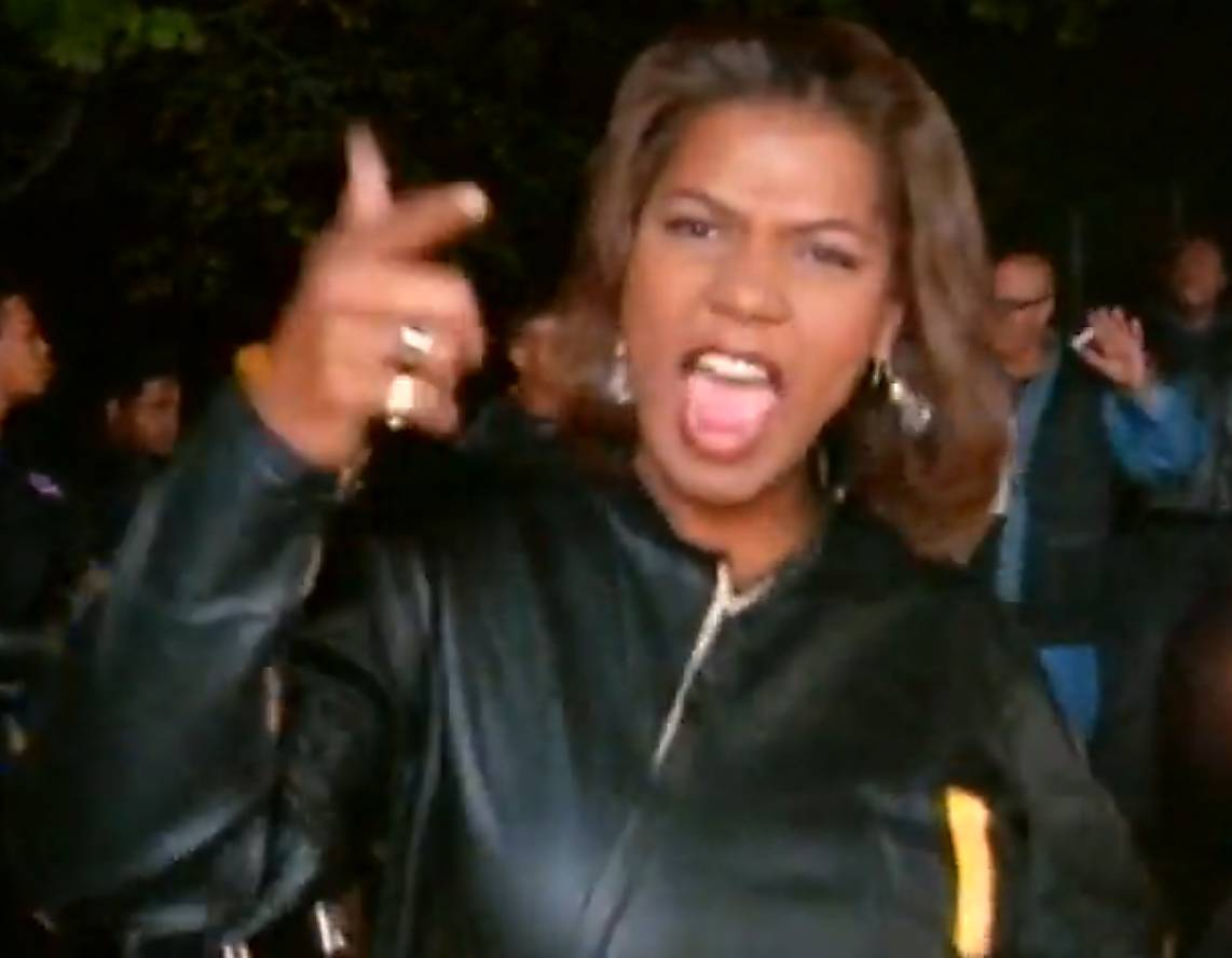 """Queen Latifah, """"U.N.I.T.Y."""" - In Queen Latifah?s classic """"U.N.I.T.Y.,"""" she strikes back at men who abuse women verbally and physically. In one case -- though violence is not advicated here -- the Queen gets hands-on with her defense: ?I punched him dead in his eye and said, ?Who you calling a b---h??""""  (Photo: MoTown Records)"""