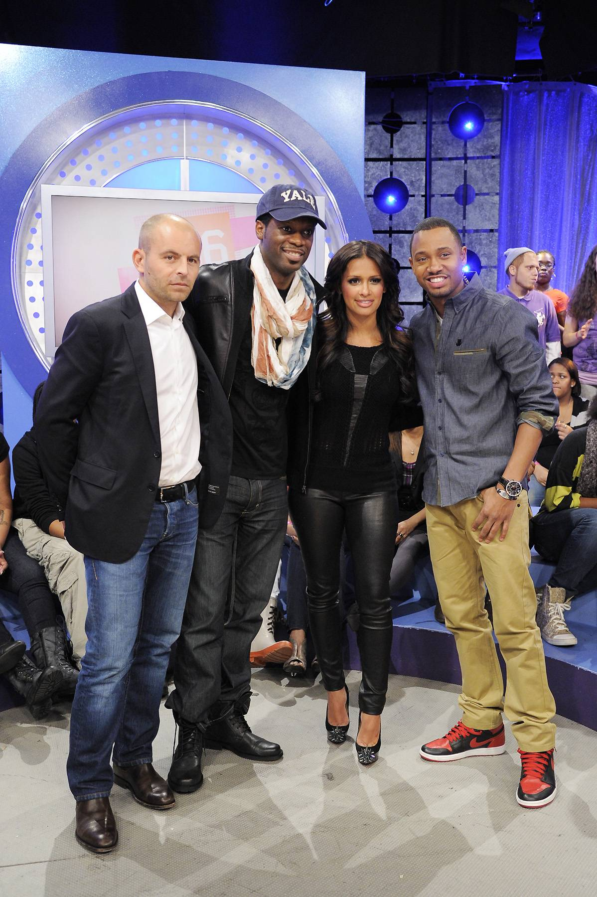 For a Cause - David Belle, Pras, Rocsi Diaz and Terrence J at 106 & Park, January 12, 2012. (Photo: John Ricard / BET)