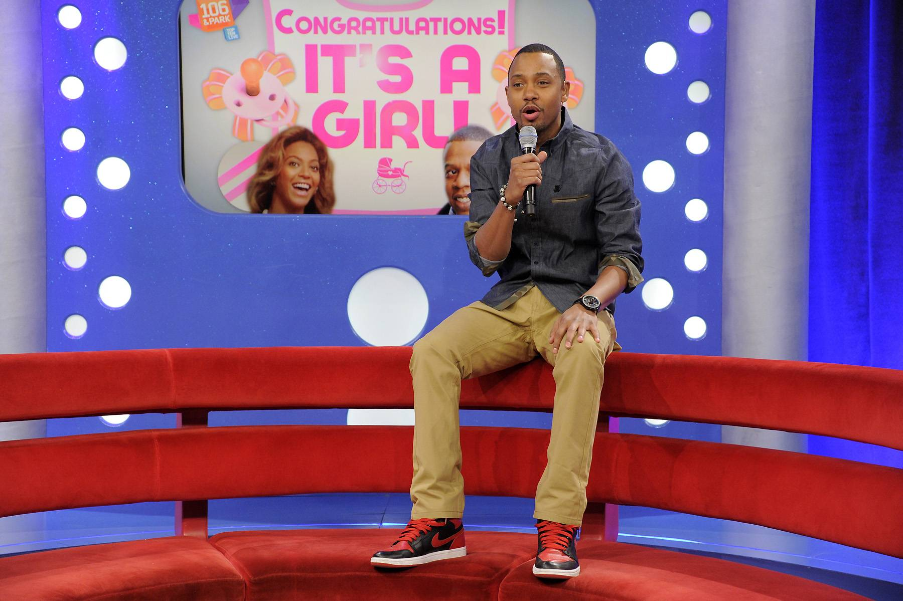 Hear This - Terrence J tells the audience that Jay-Z and Beyonce's daughter is the youngest person to ever be featured on a Billboard top 100 single, at 106 & Park, January 12, 2012. (Photo: John Ricard / BET)