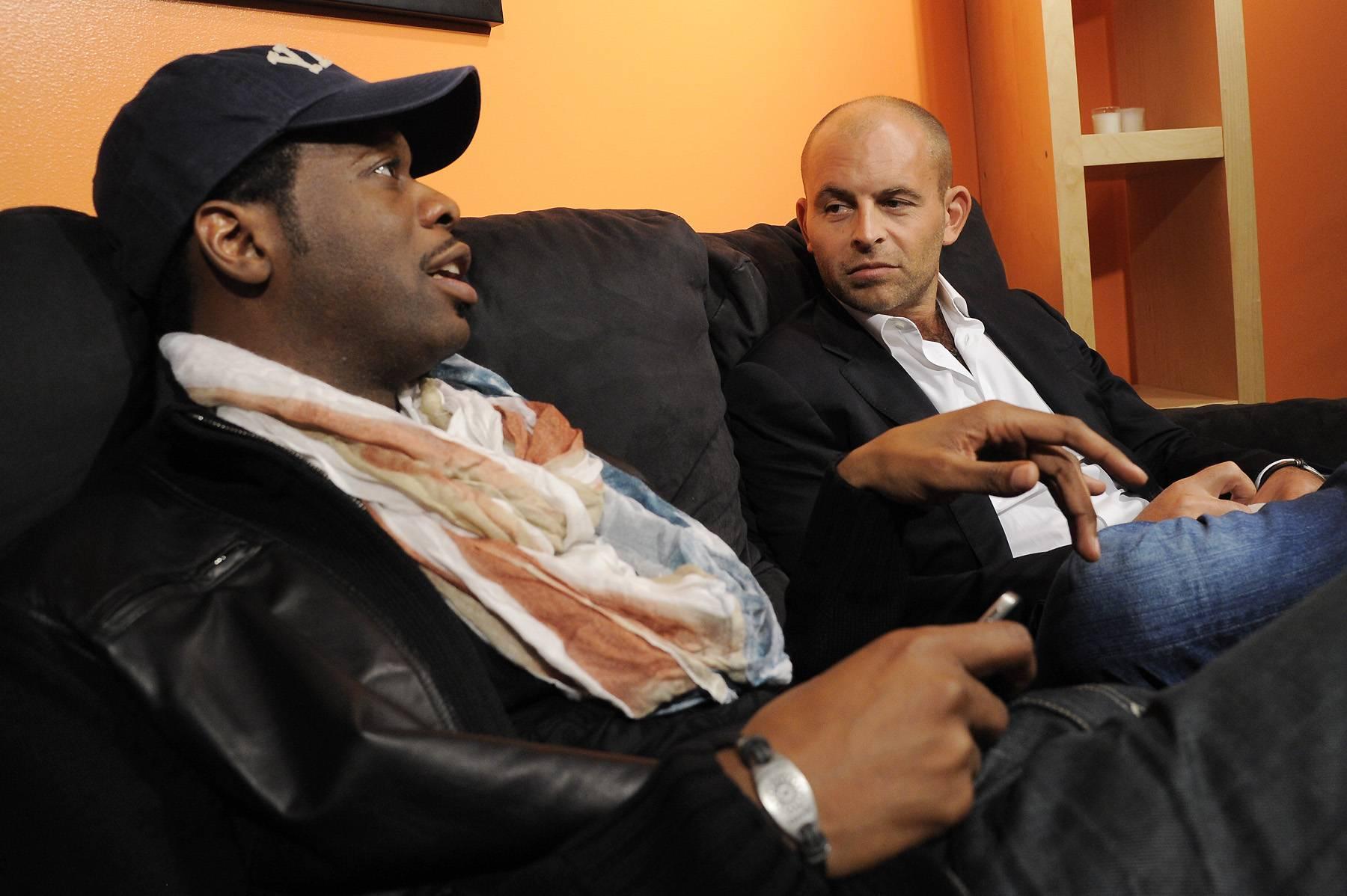 I Heard That - Pras speaks to award-winning filmmaker David Belle in the green room at 106 & Park, January 12, 2012. (Photo: John Ricard / BET)