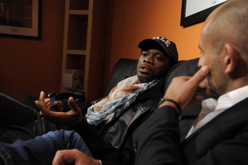 I Hear Ya - Pras speaks to award-winning filmmaker David Belle in the green room at 106 & Park, January 12, 2012. (Photo: John Ricard / BET)