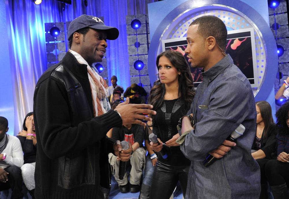 Let's Do This - Conversation between Pras, Rocsi Diaz and Terrence J continues even when the TV cameras stop rolling, at 106 & Park, January 12, 2012. (Photo: John Ricard / BET)
