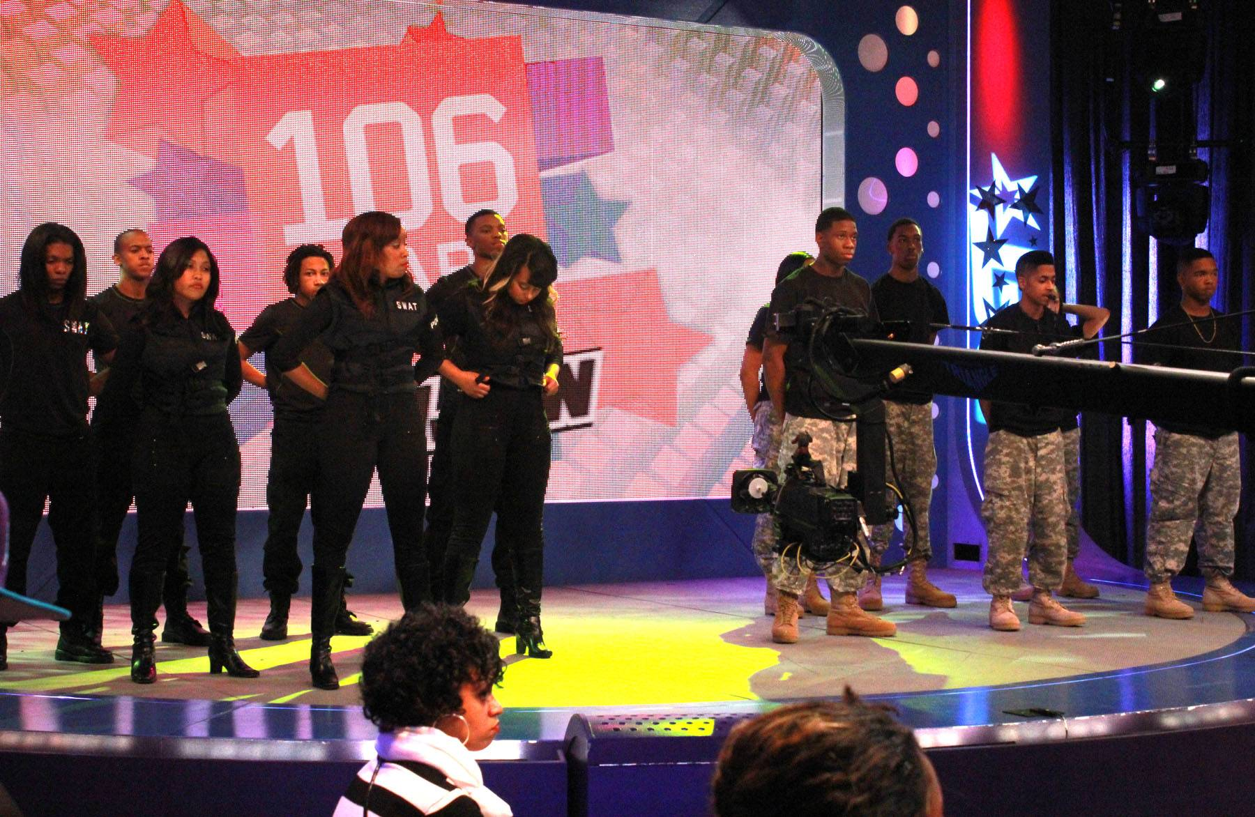 Get Ready - W.O.W. performers on set at 106 & Park. (photo by: Slim)