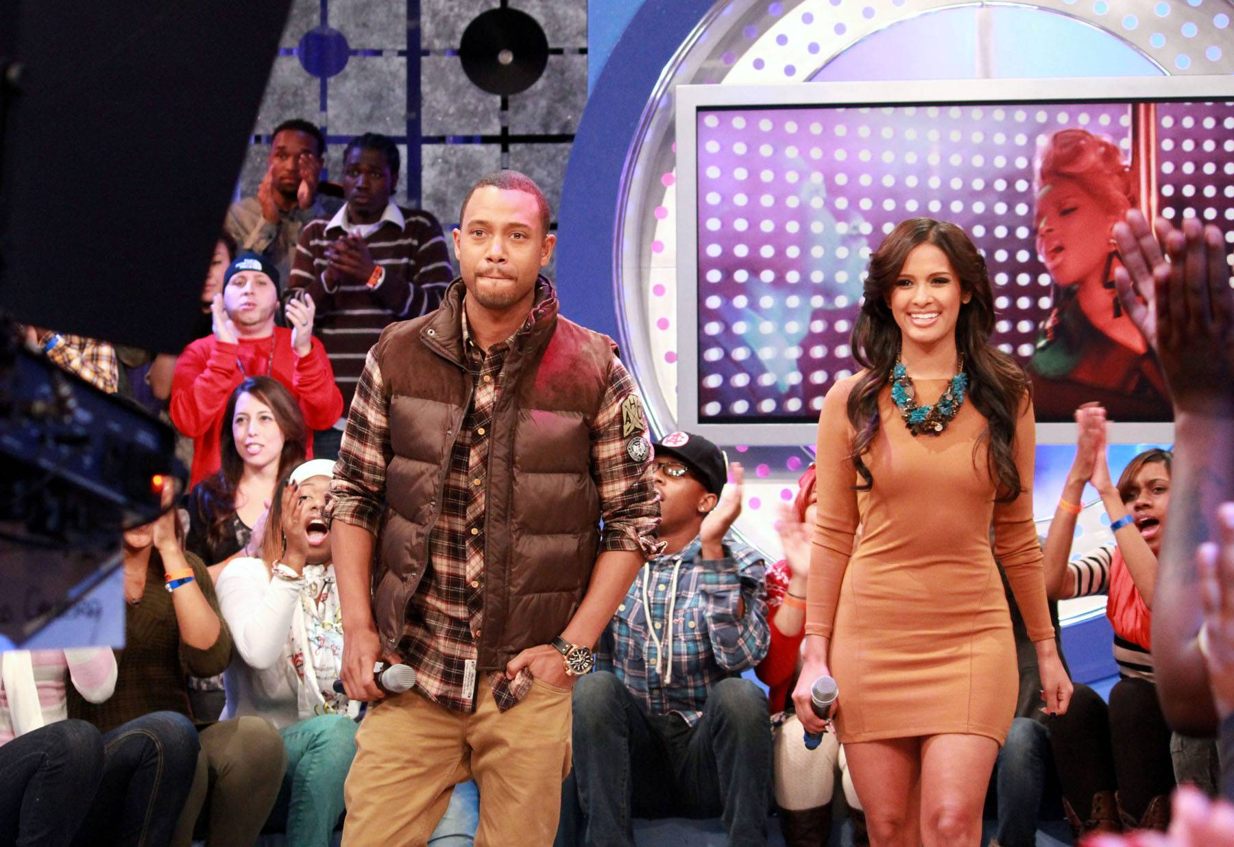 Let's Bring 'Em Out - Terrence J and Rocsi on set at BET's 106 & Park.