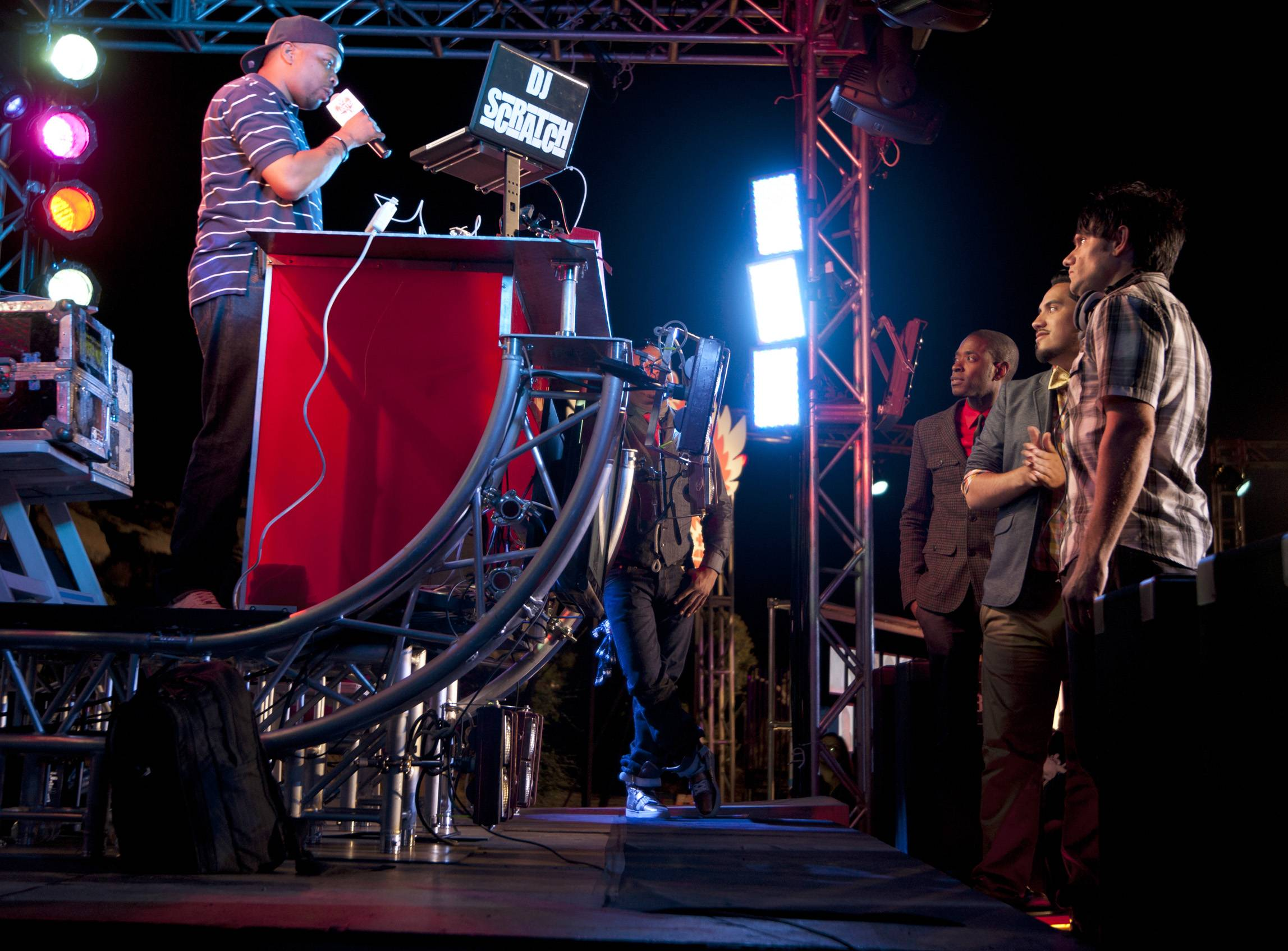 Before Seeing the Judges... - The DJs get some sound advice from DJ Scratch, the season 1 winner of Master of the Mix. (Photo: Moses Mitchell/BET)