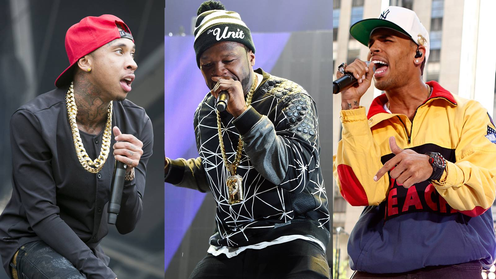 """'I Bet,' Featuring 50 Cent - Tyga and Chris swap out Dwayne for Curtis and continue on their mission of tossing disloyal playmates. Fif has no problem filling the slot as he rhymes about being chose. """"It's not a thing for me... /We from different sets, why your b***h wanna bang with me? /All the time, all the time, I be on the grind /H**s look at me, the dollar signs run across they mind.""""(Photos from left: Helen Boast/Redferns via Getty Images, Theo Wargo/Getty Images for Live Nation, Peter Kramer/NBC/NBC NewsWire)"""
