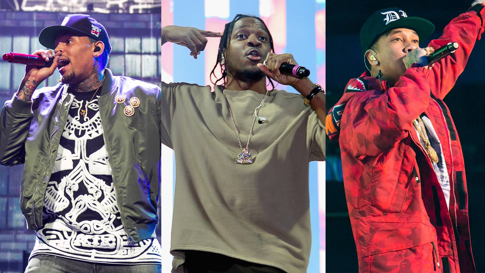 """'D.G.I.F.U. (Don't Get It F**ked Up),' Featuring Pusha T - Pusha T joins T-Raww and Brown as they flip the Doc's classic """"Forgot About Dre"""" and Bone and B.I.G.'s """"Notorious Thugs."""" With their minks dragging the floor on this theme song for stunting, Tyga sets it off on the haters with, """"Ya'll know me, the still same OG, young T-Y-G /Hated on by most these n****s /But I still keep s**t on n****s low-key /I don't f**k with you to the third degree.""""(Photos from left: Scott Legato/Getty Images, Jerritt Clark/Getty Images for Roc Nation, Scott Legato/Getty Images)"""