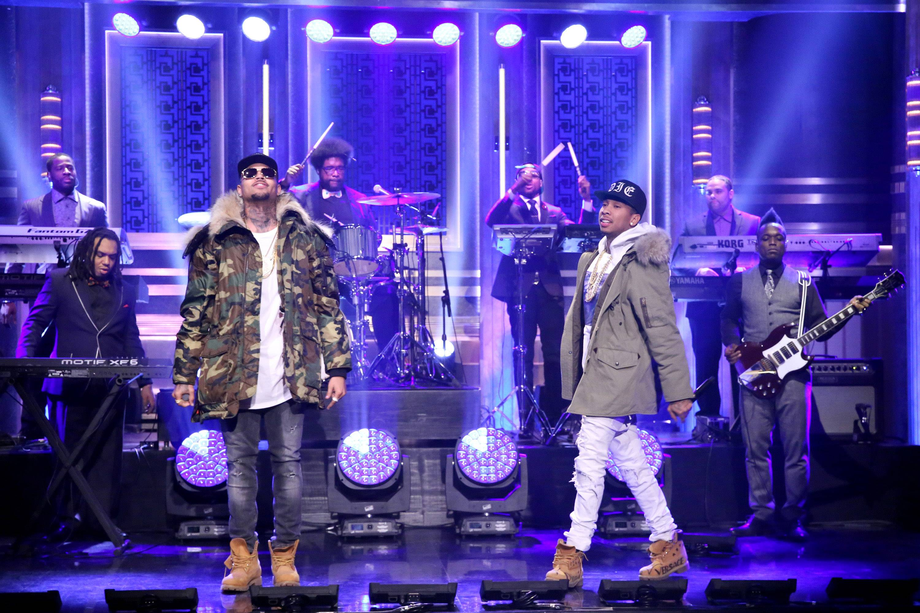 """'Remember Me' - Chris and his Compton homie got a thing for girls who like girls and promise nights to remember when the doors close. Tyga has no filter as he declares, """"She love a n***a and that p***y tight /Come through, f**k you all night.""""(Photo: Douglas Gorenstein/NBC/NBCU Photo Bank via Getty Images)"""