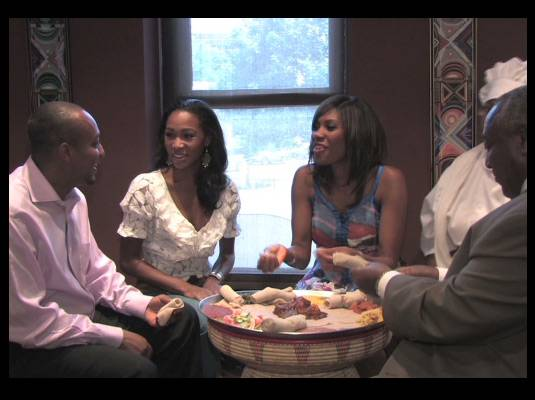 Travelistas:Washington, DC - No forks allowed!<br><br>At Etete and in Ethiopian culture, meals are shared with everyone and you eat with your fingers.<br><br>Ladies, the men feed the women their food.