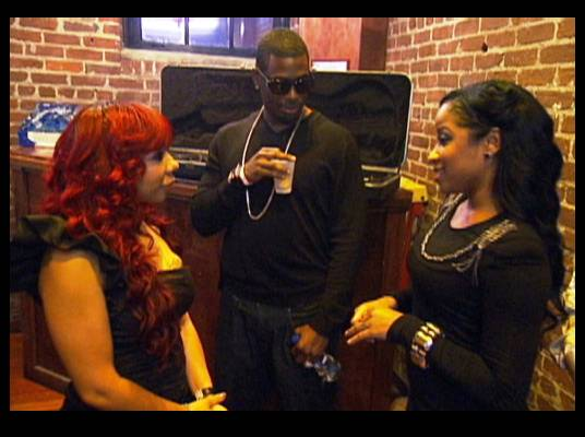 Stage Fright? - Tiny, MeMpHitz and Toya wait backstage before the benefit concert begins.