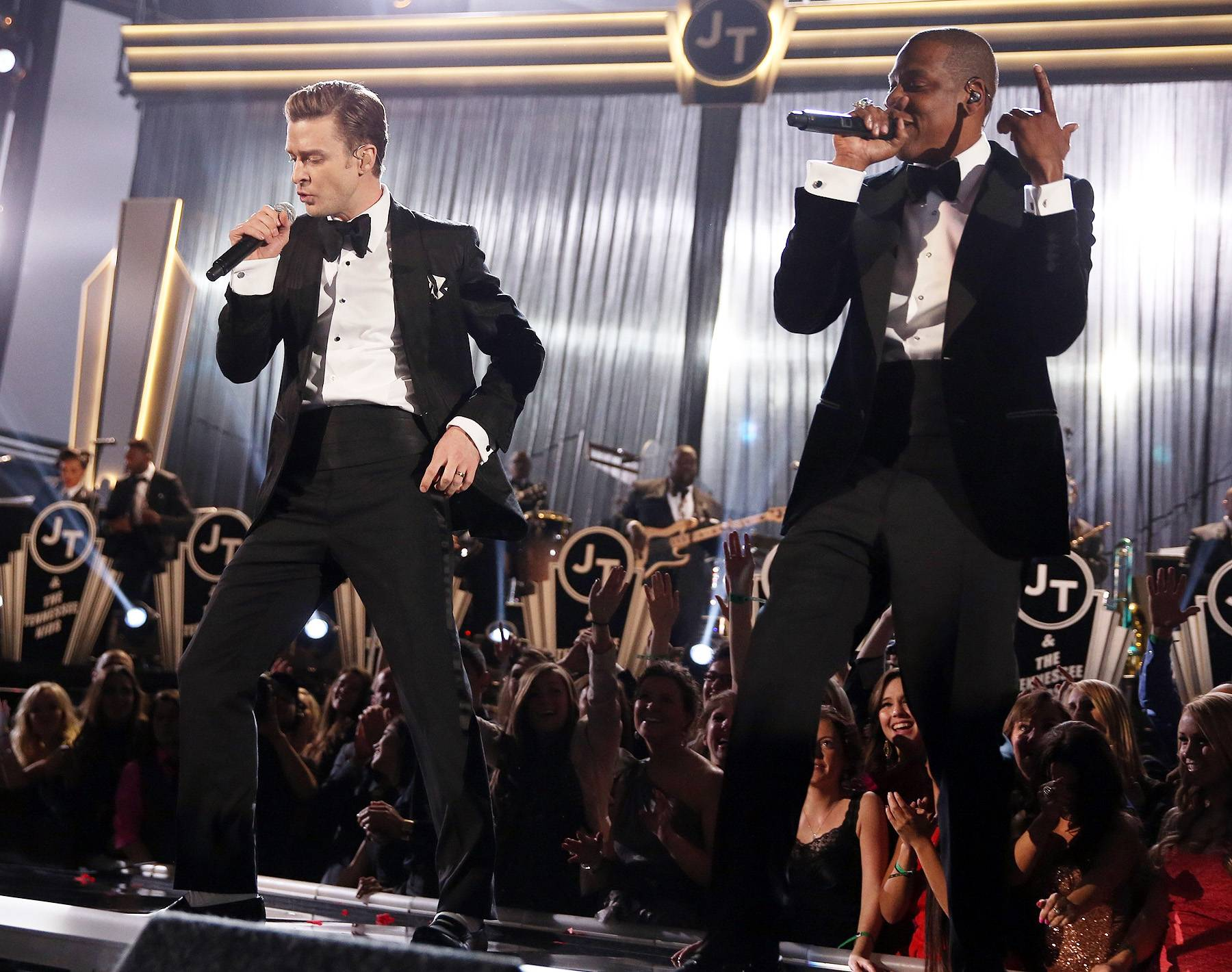 """The New Dream Team— February 10, 2013 - After a lengthy hiatus from music, Justin took on the 2013 Grammys with a big band inspired performance of """"Pusher Love Girl"""" and """"Suit & Tie"""" with a special appearance from none other than one of his musical partners in crime, Jay-Z. (Photo: Christopher Polk/Getty Images for NARAS)"""
