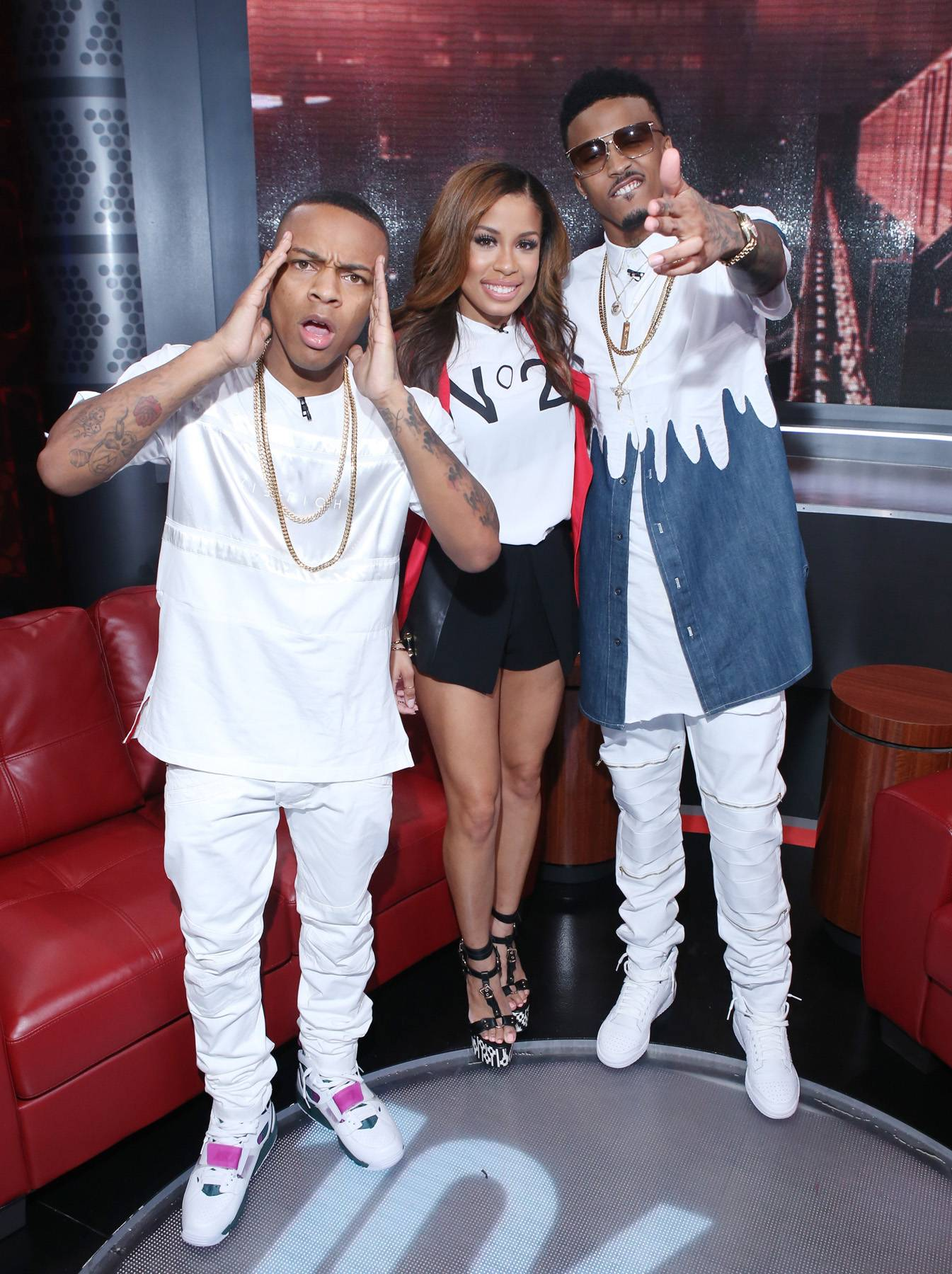 Epic Music Team - Shad Moss, Keshia Chante, and August Alsina attend 106 & Park at BET studio on September 15, 2014 in New York City. (Photo: Bennett Raglin/BET/Getty Images for BET)